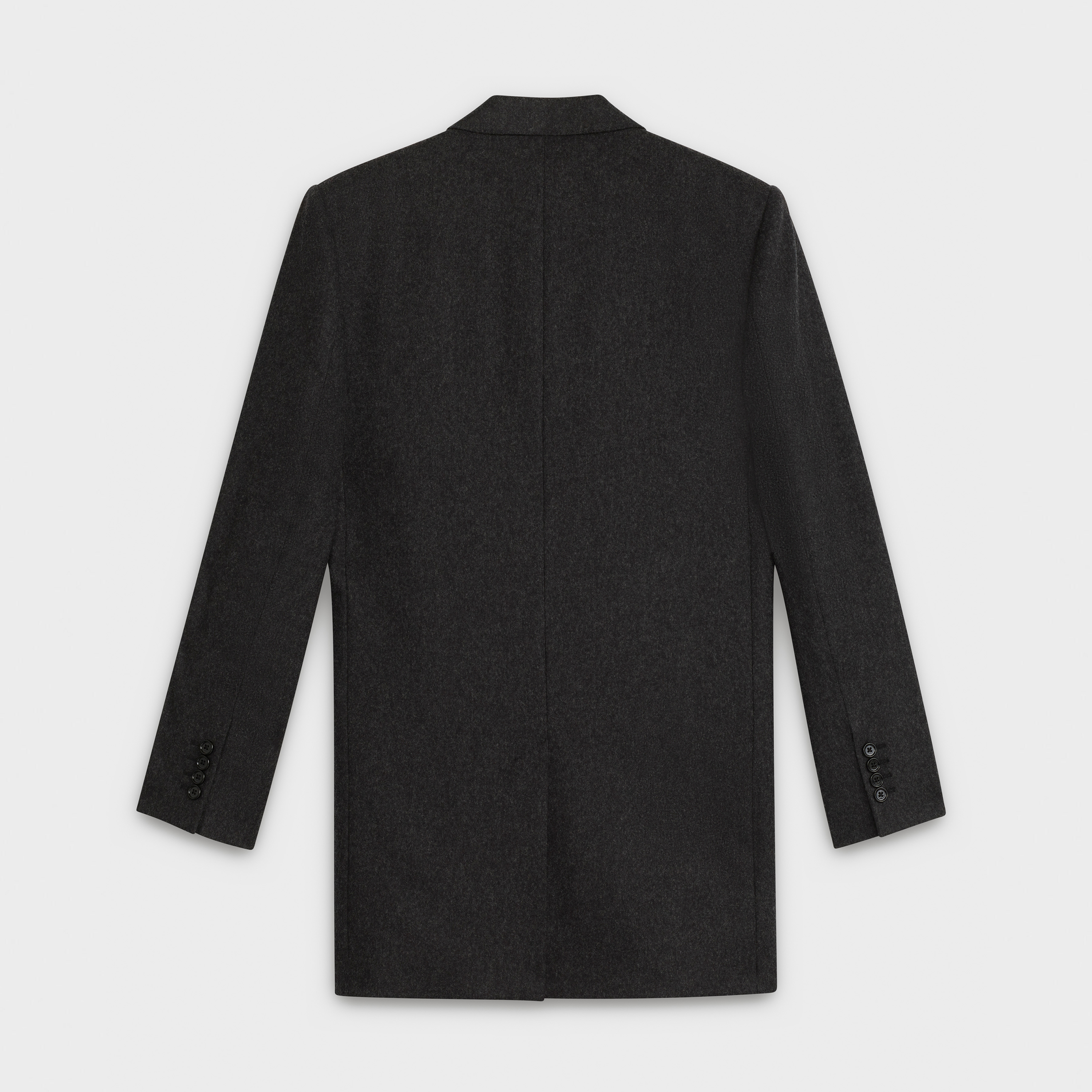 double-breasted coat jacket in wool flannel | CELINE