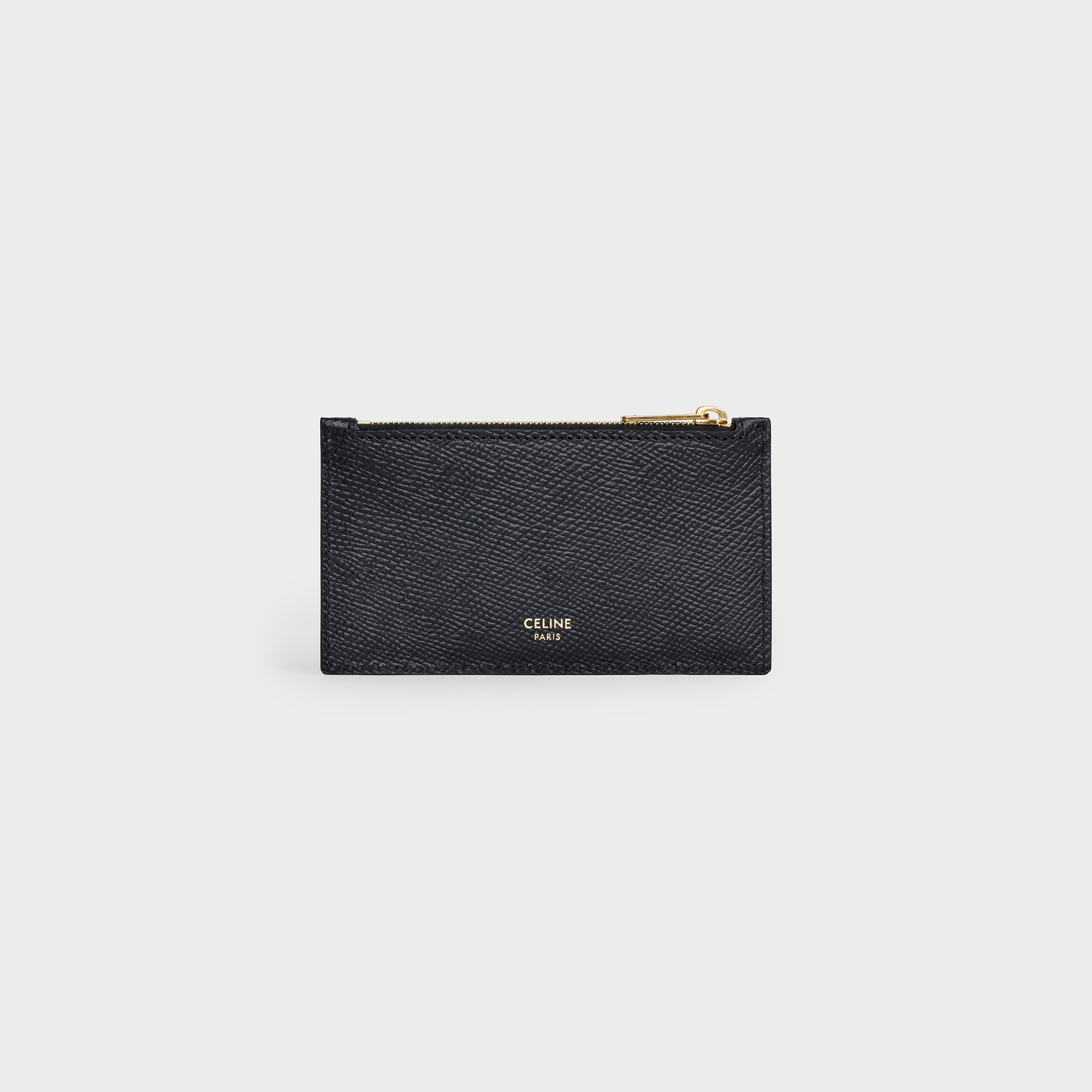 "Zipped compact card holder in Grained Calfskin with Cody Defranco ""Unlock Your Fantasies"" print 