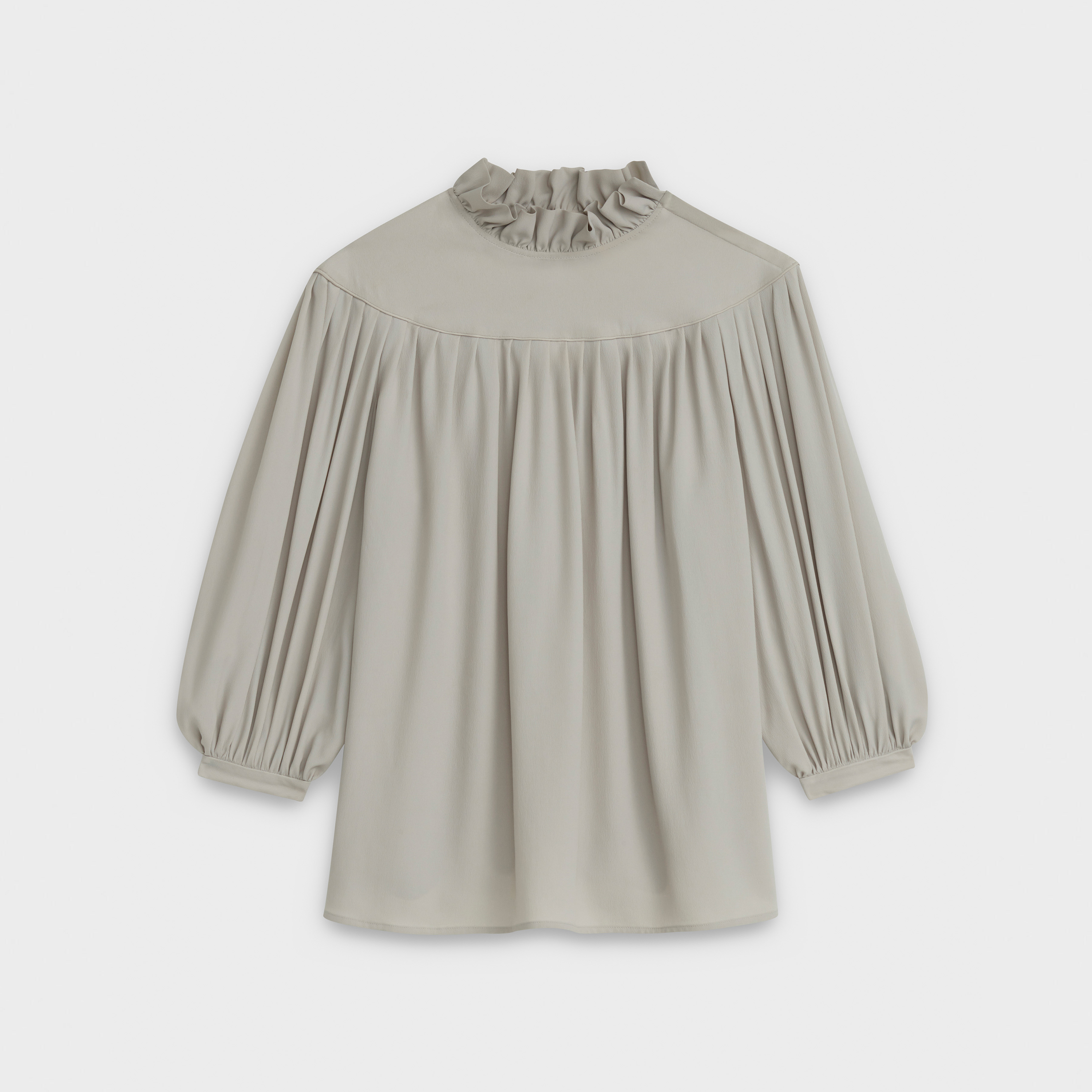 fluid blouse with frill collar, plastron and gathers in crepe de soie acetate | CELINE