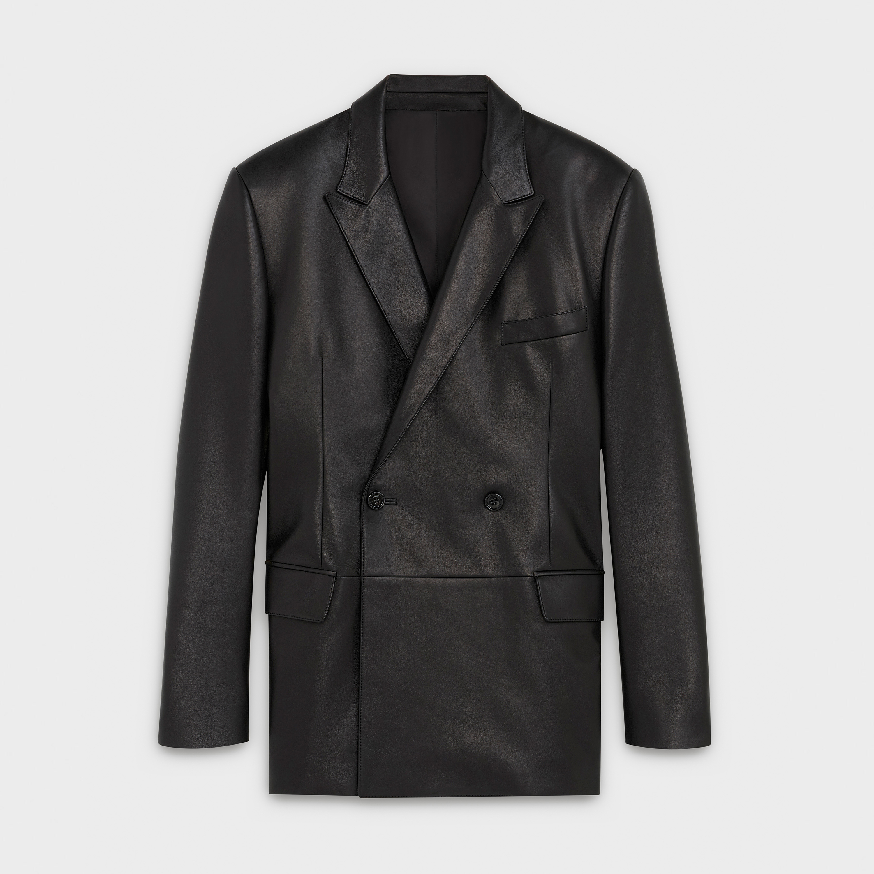double-breasted rectangle jacket in lambskin | CELINE