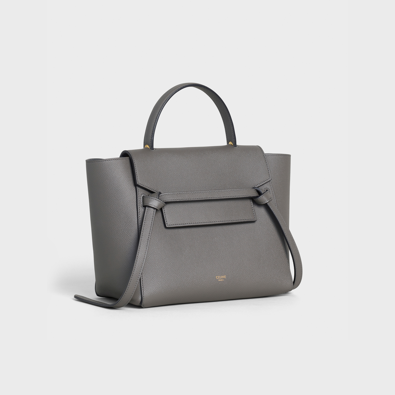Micro Belt Bag In Grained Calfskin Grey Handbags 2 Celine