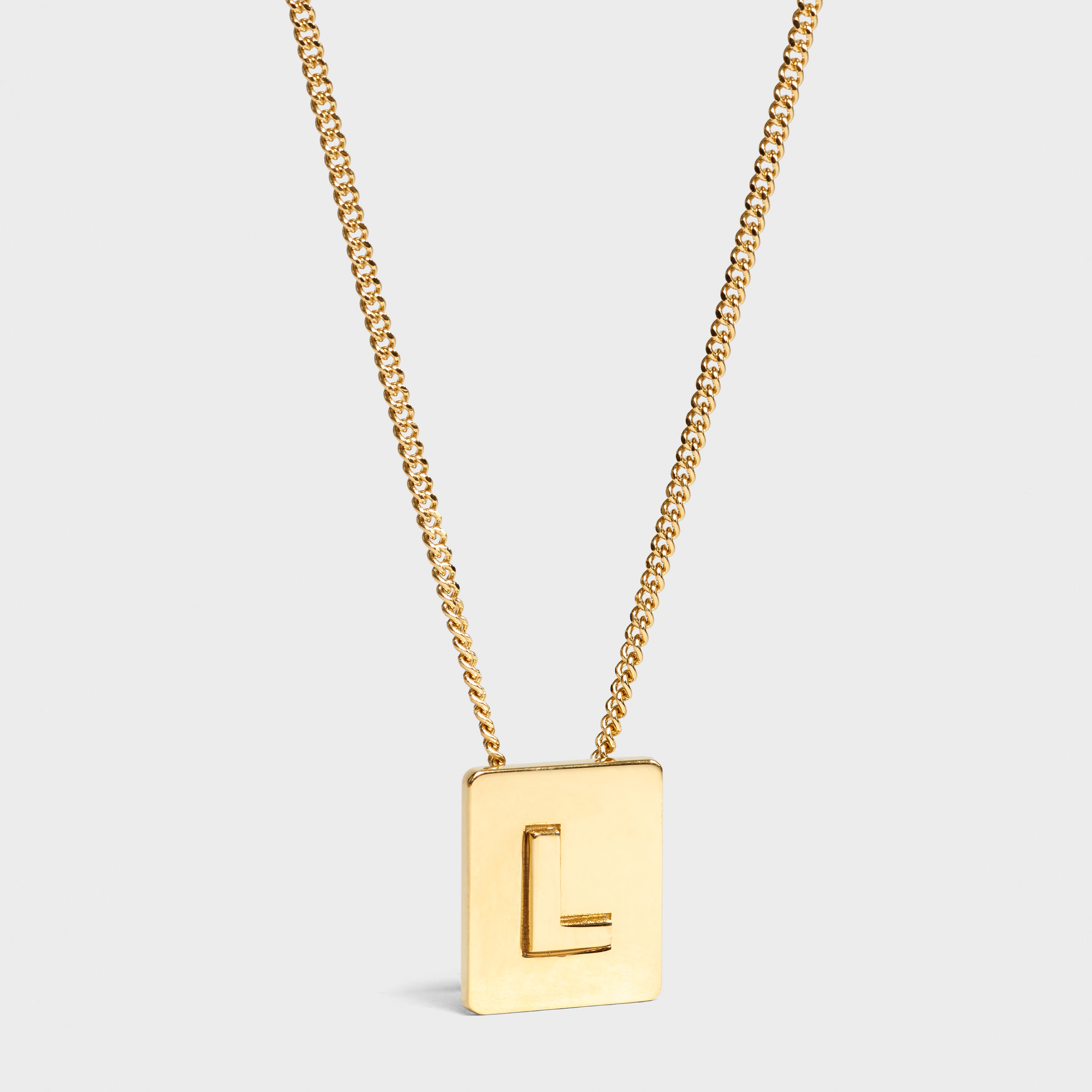 Alphabet L necklace in brass with gold finish | CELINE