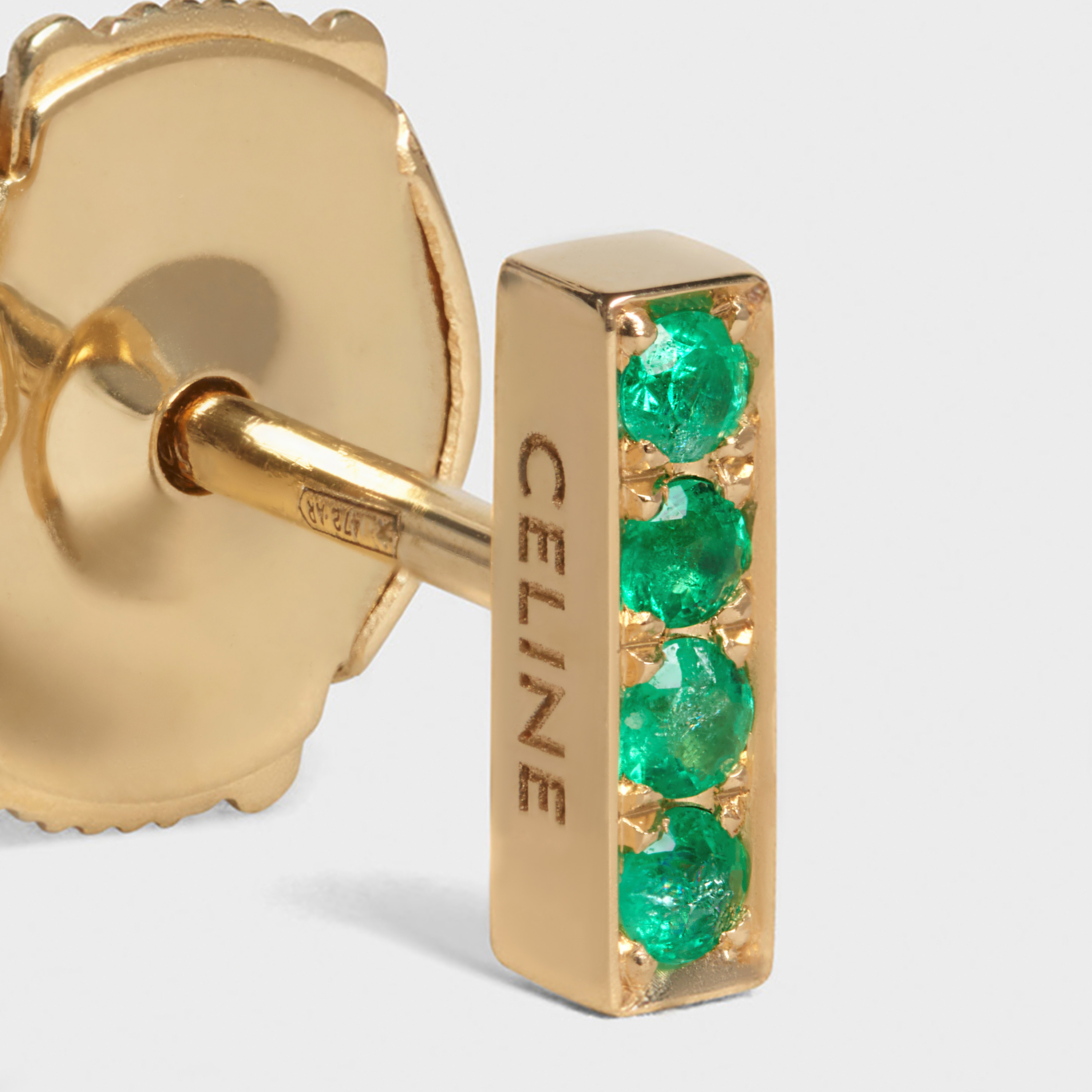 Celine Sentimental Small Line Stud in Yellow Gold and Emerald | CELINE