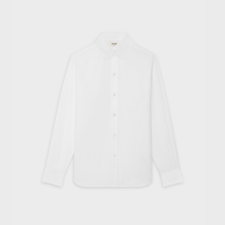 Camisa Blanca Algodón Cuello Bordado Varias Tallas Publico