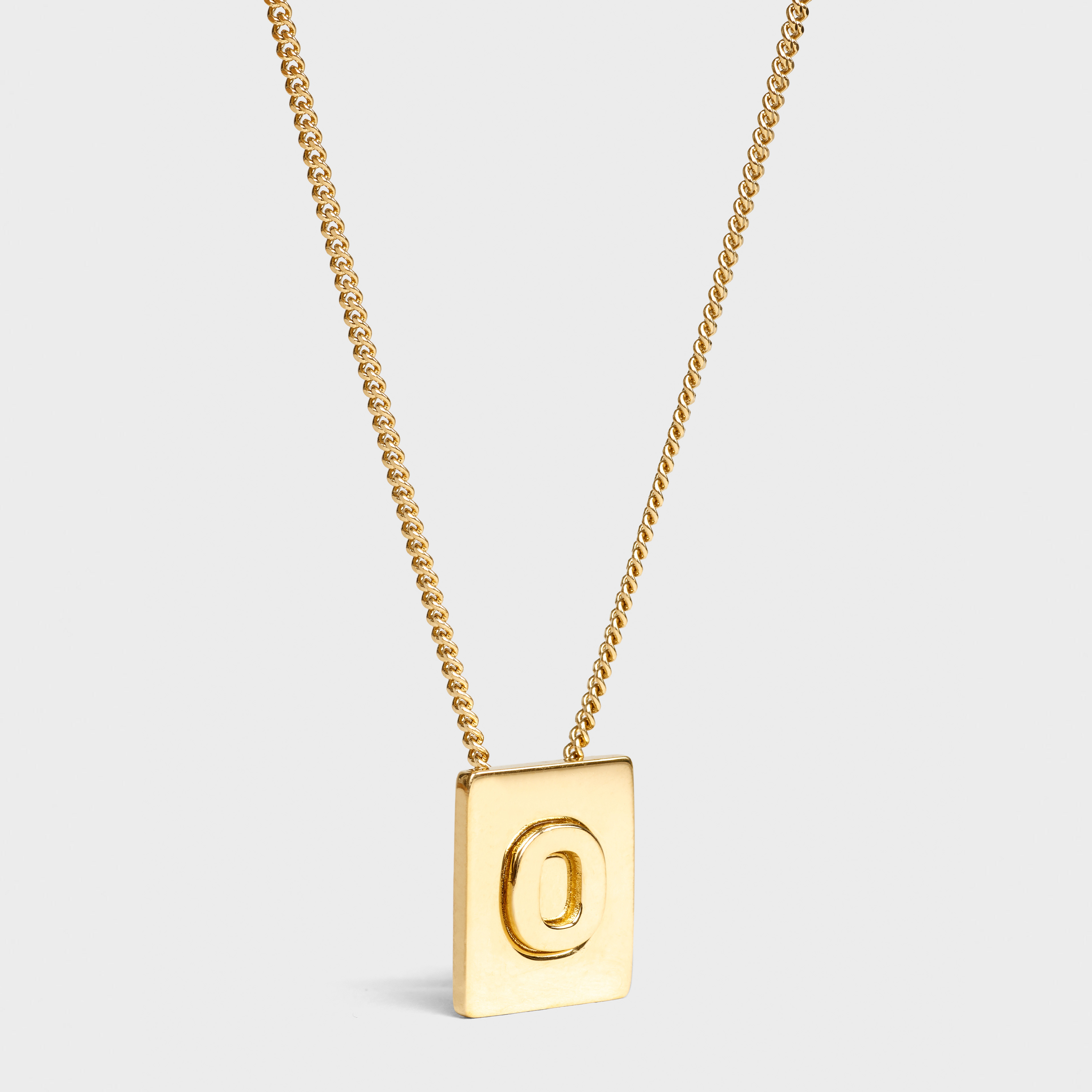 Alphabet O necklace in brass with gold finish | CELINE