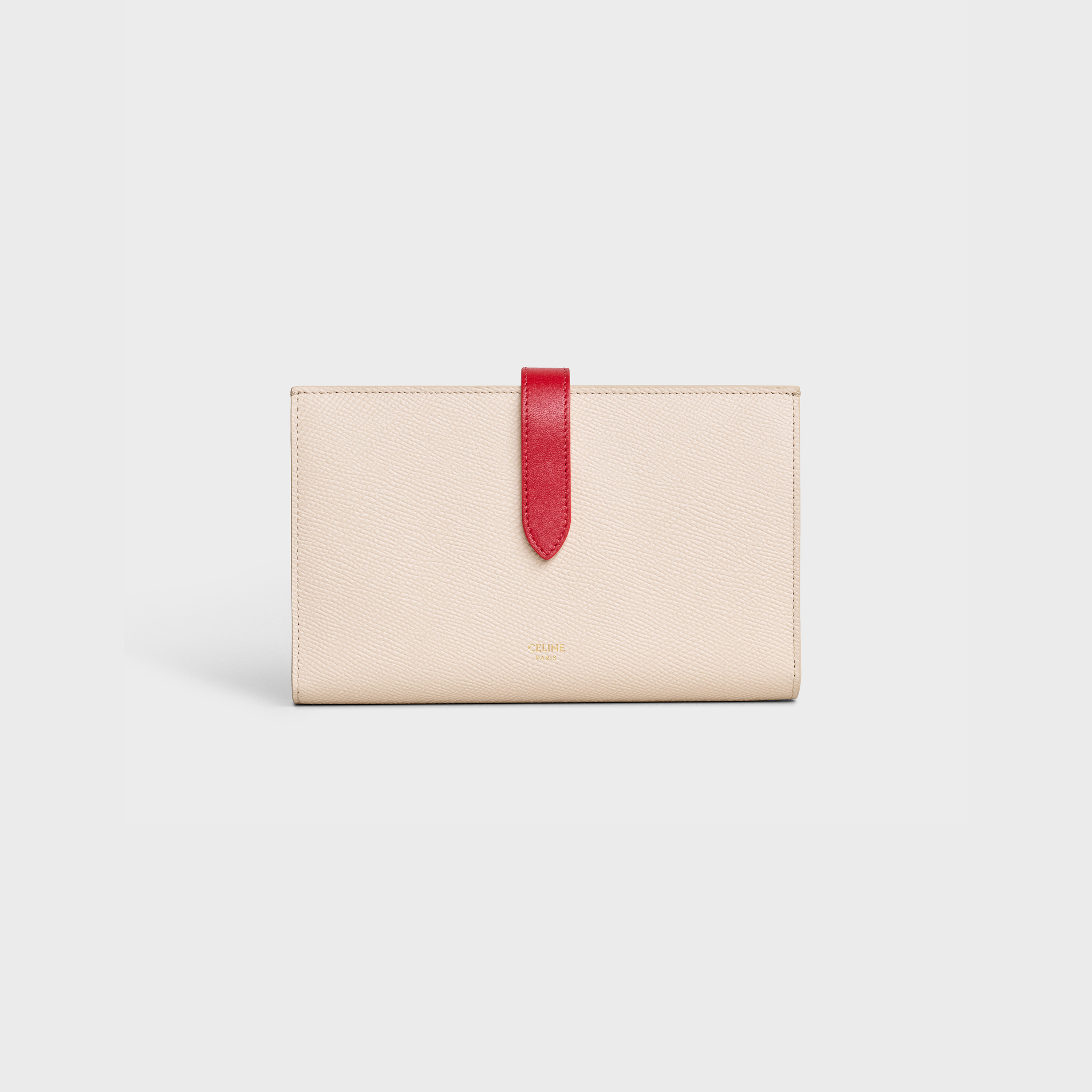Bicolour Large strap wallet in grained calfskin - Powder / Red