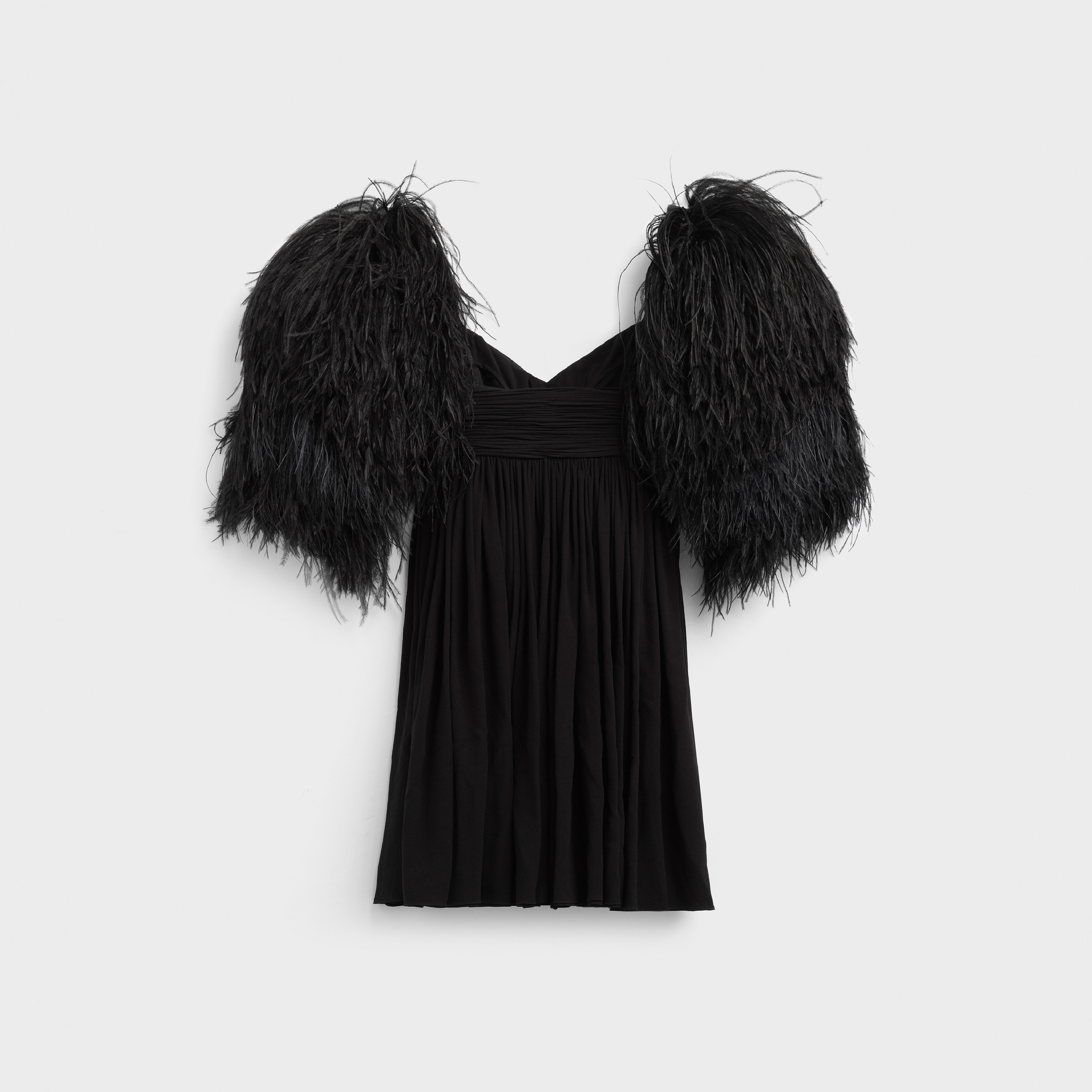 Bustier draped dress in silk georgette with feathers straps | CELINE
