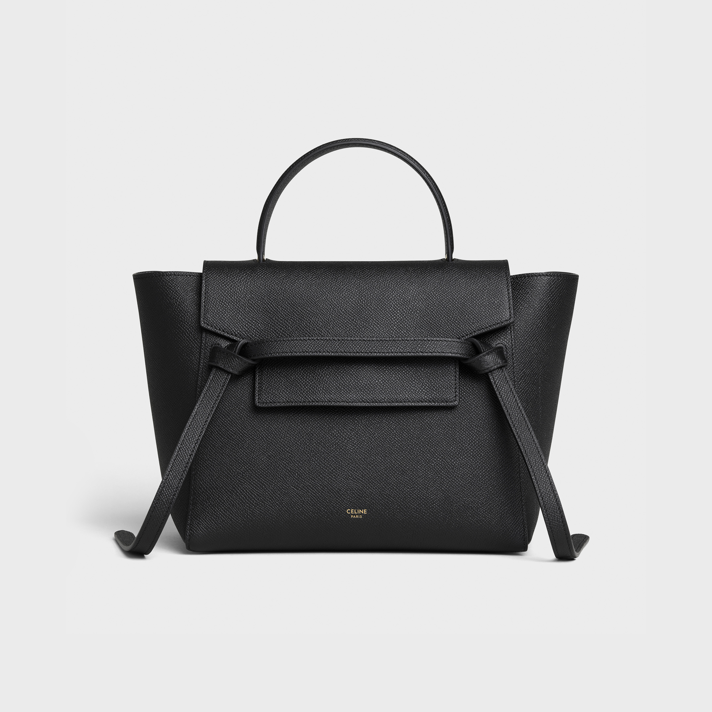 Micro Belt Bag In Grained Calfskin Black 189153zva 38no Celine