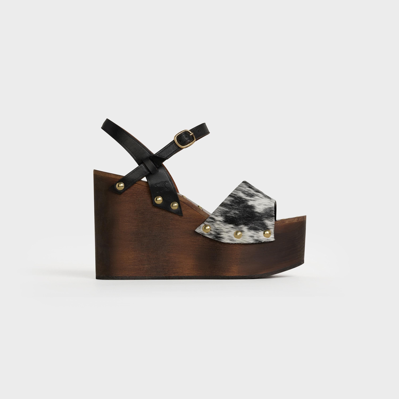 Les Bois Celine Wedge sandal in Hairy calfskin and calfskin