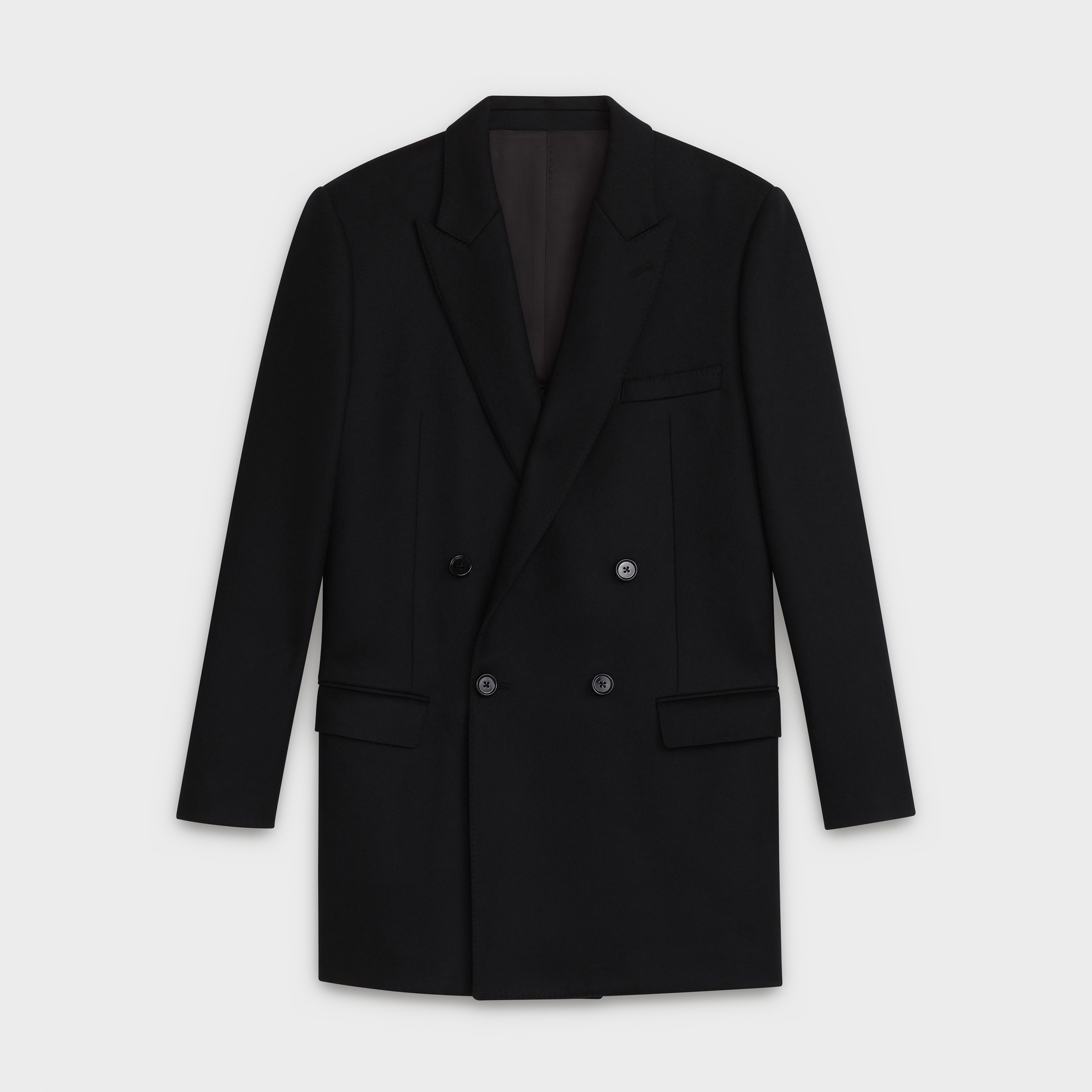 double-breasted coat jacket in wool felt | CELINE