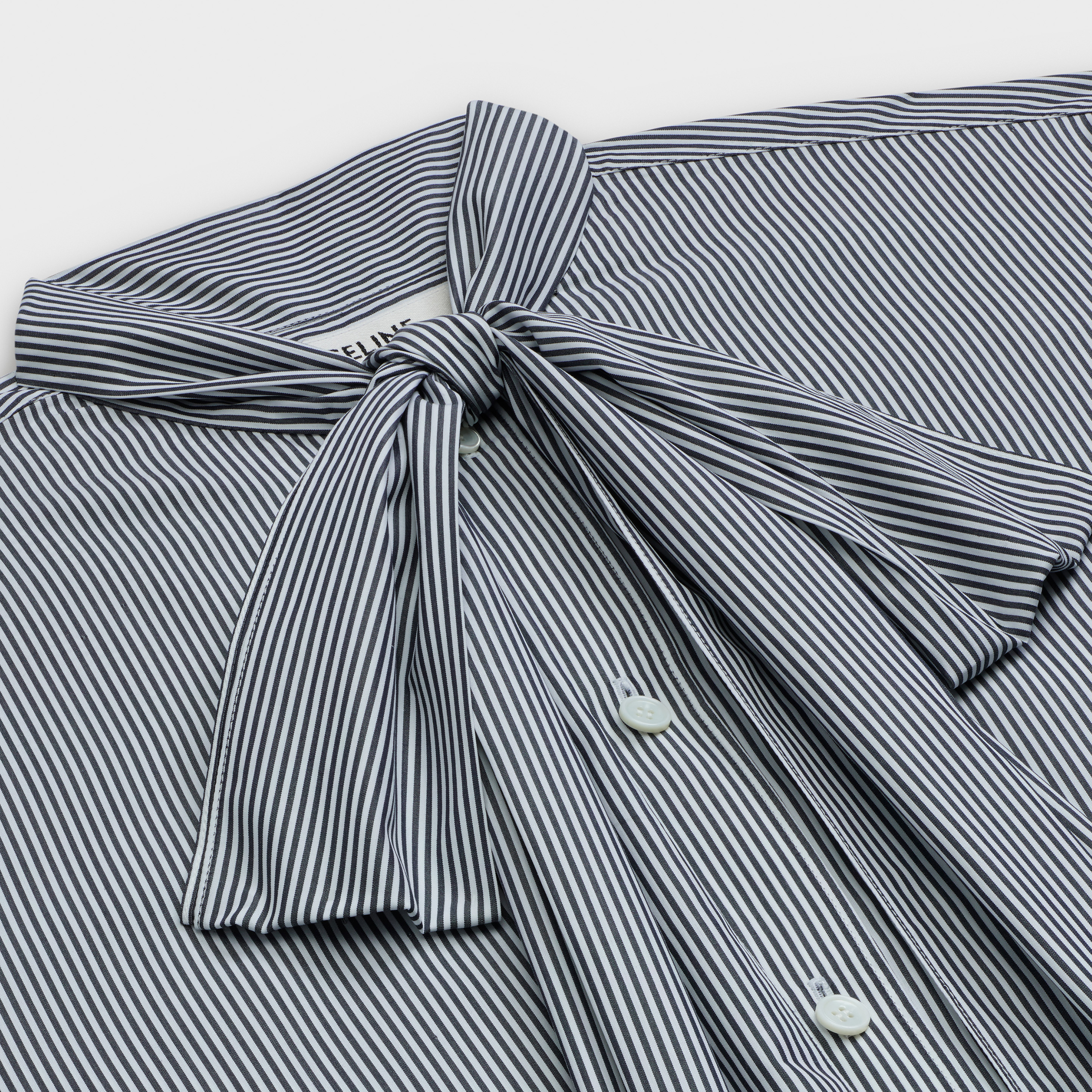 classic shirt with 'lavallière' collar in striped poplin | CELINE