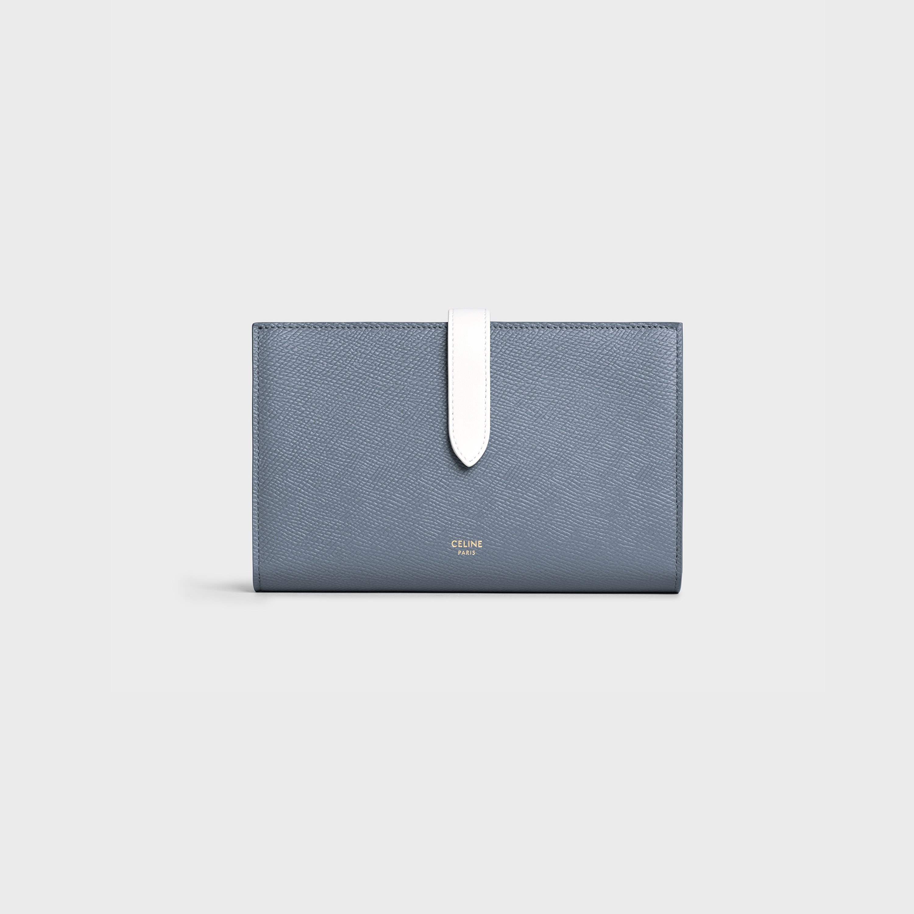 Bicolour Large strap wallet in grained calfskin - Medium Grey / White