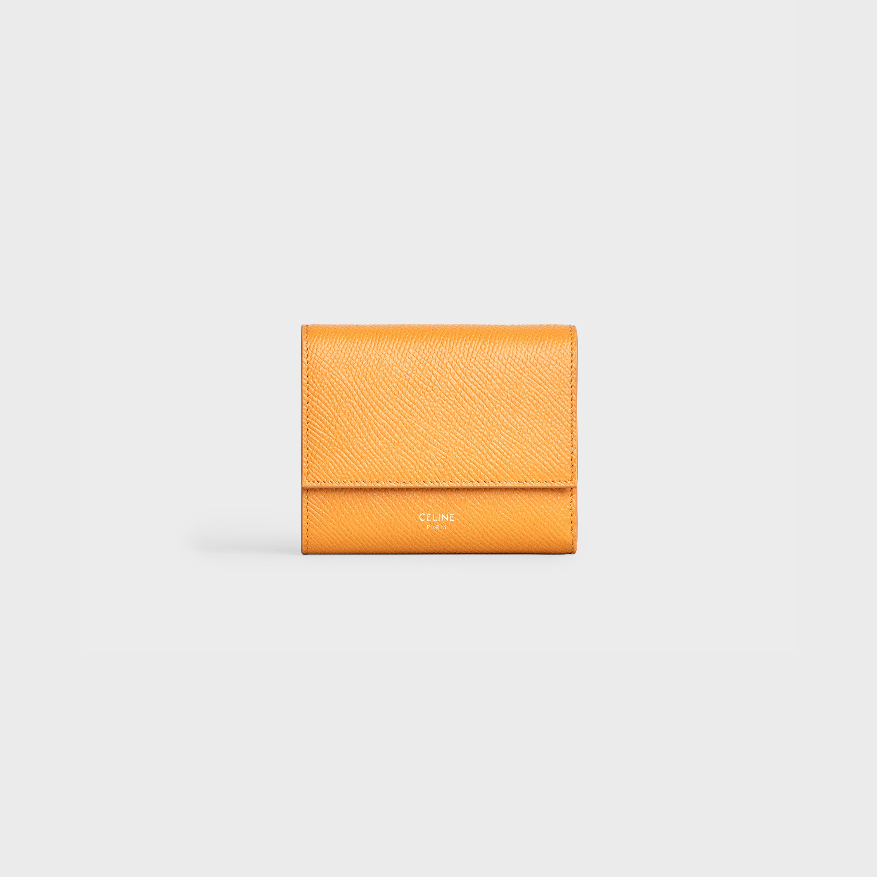 Small trifold wallet in Grained calfskin - Ocre