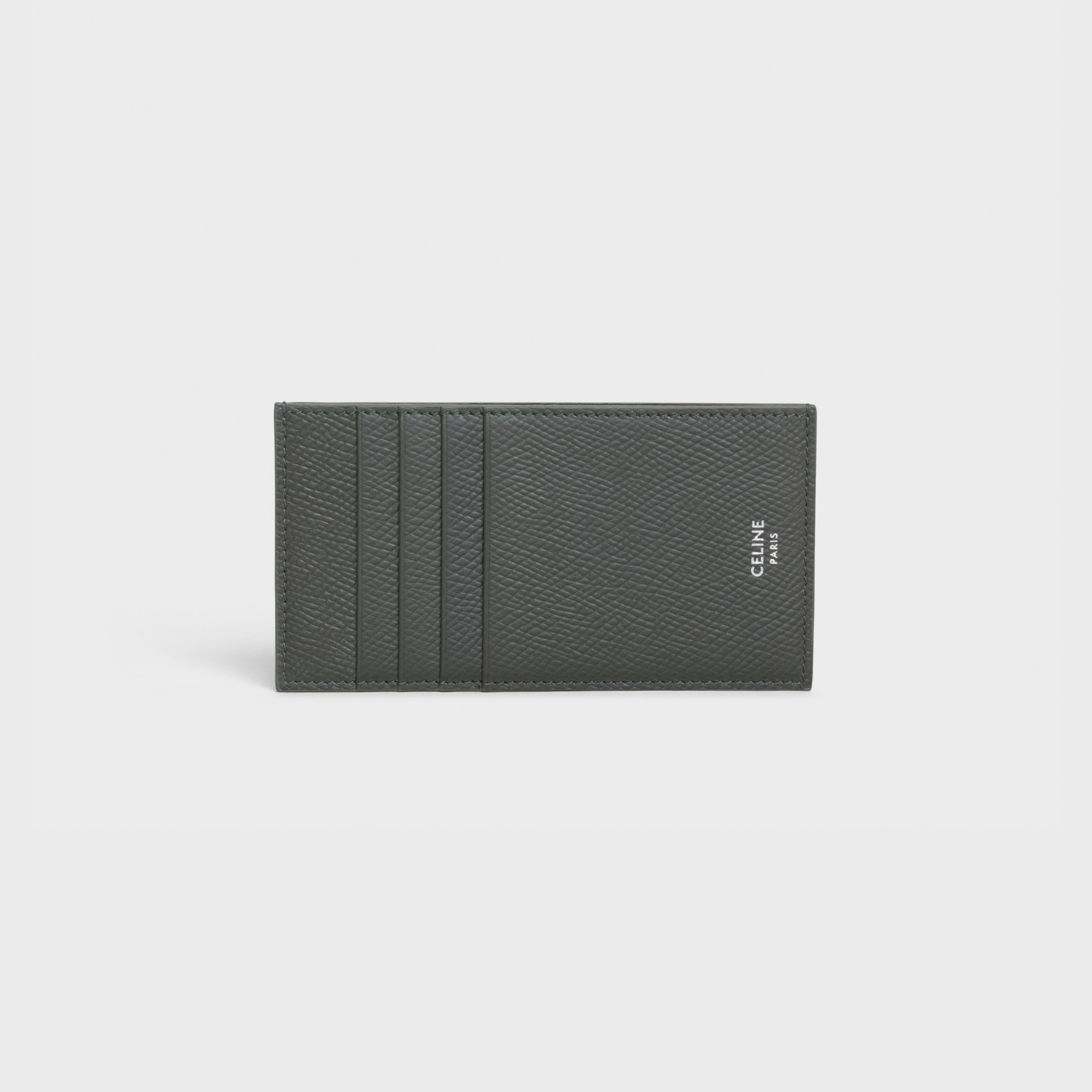 Compact card holder in grained calfskin | CELINE