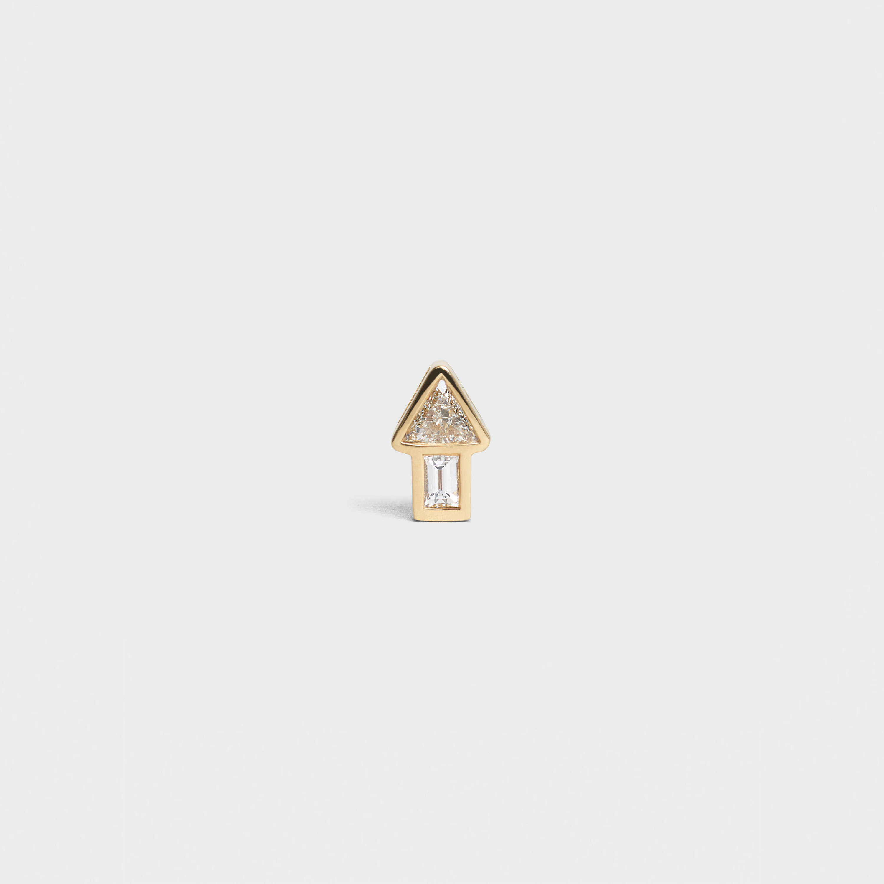 Celine Sentimental Small Arrow Stud in Yellow Gold and Diamond | CELINE