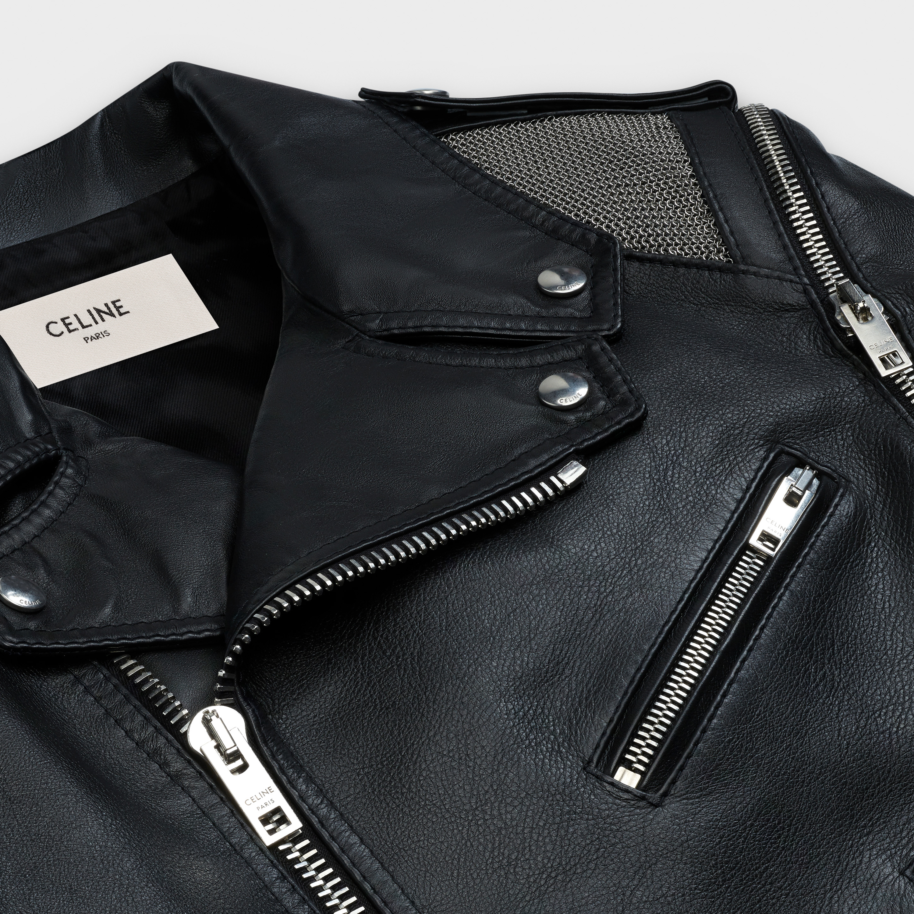 biker with metallic mesh yokes in calfskin | CELINE
