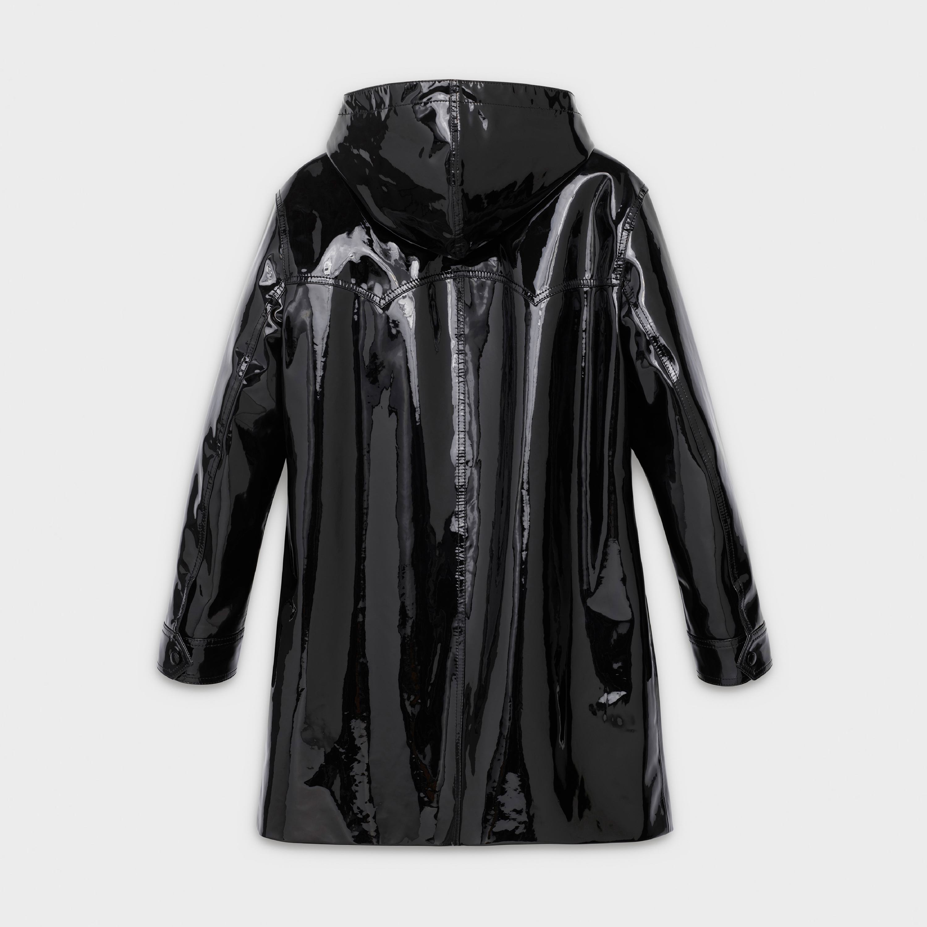 Hood duffle coat in patent leather | CELINE