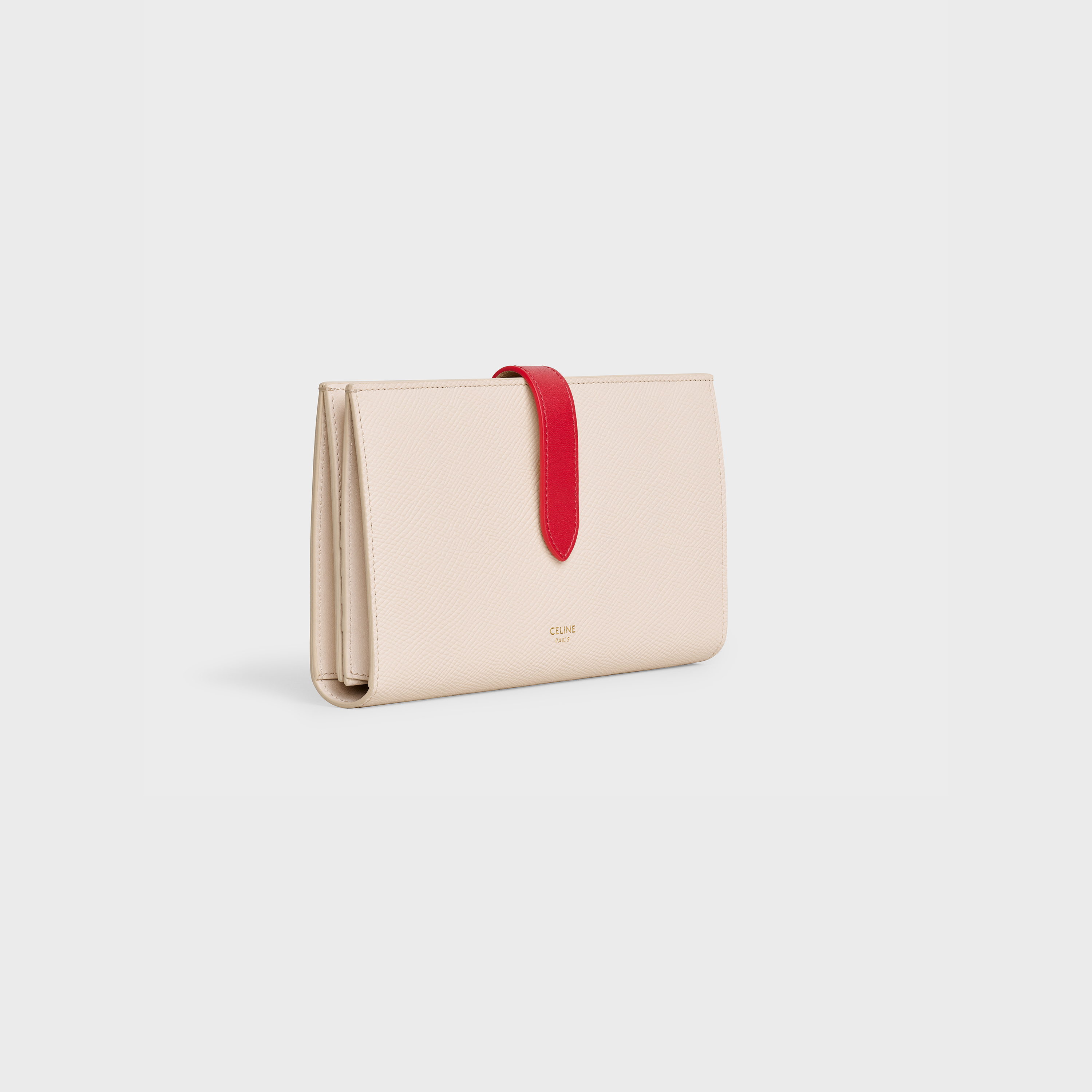 Bicolour Large strap wallet in grained calfskin | CELINE