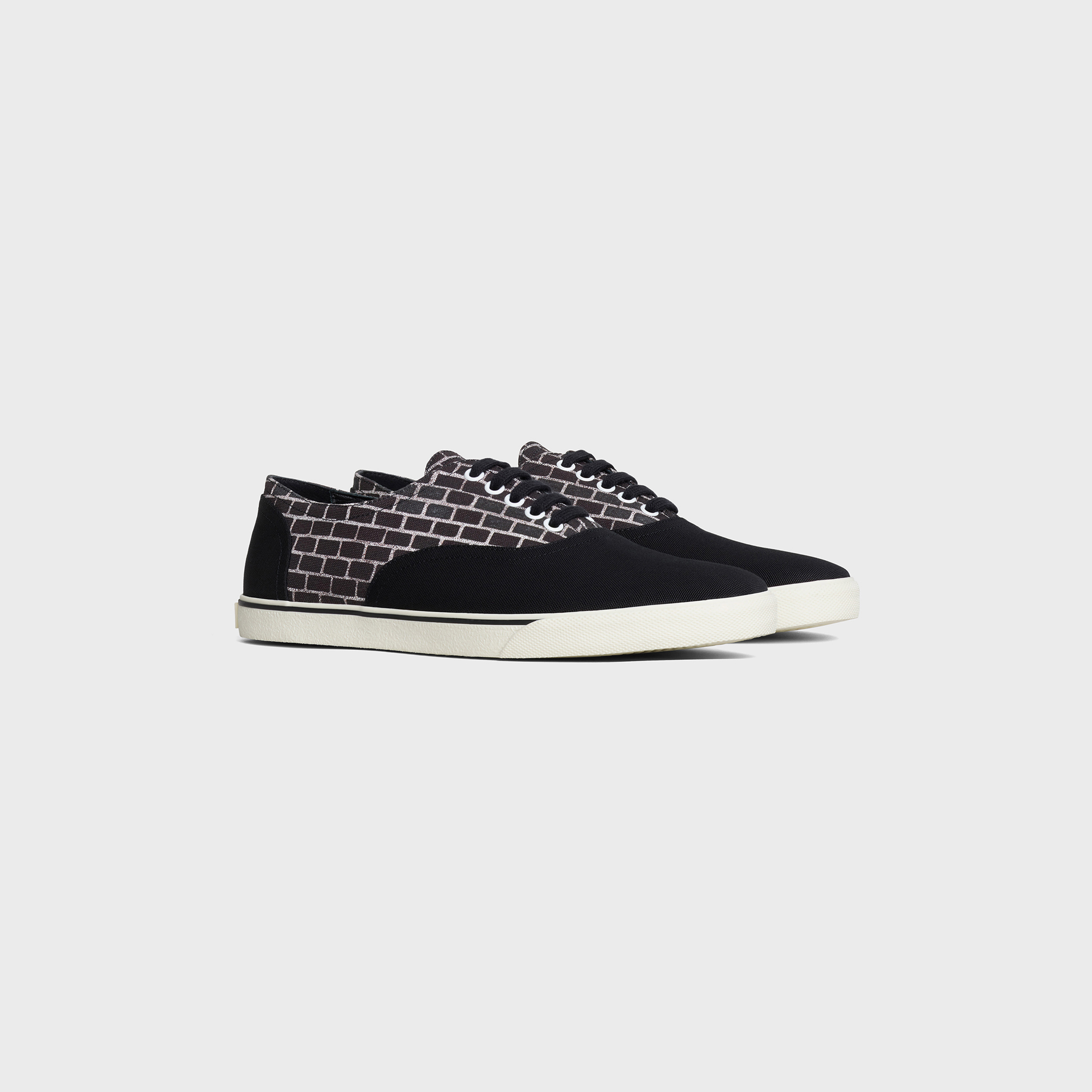 CELINE ELLIOT Low lace up sneaker in Canvas & Anneli Henriksson 'Electric brick wall' printed canvas | CELINE
