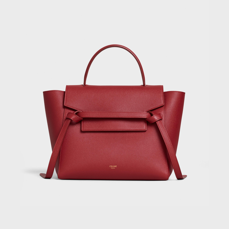 Micro Belt Bag In Grained Calfskin Ruby 189153zva 27ri Celine