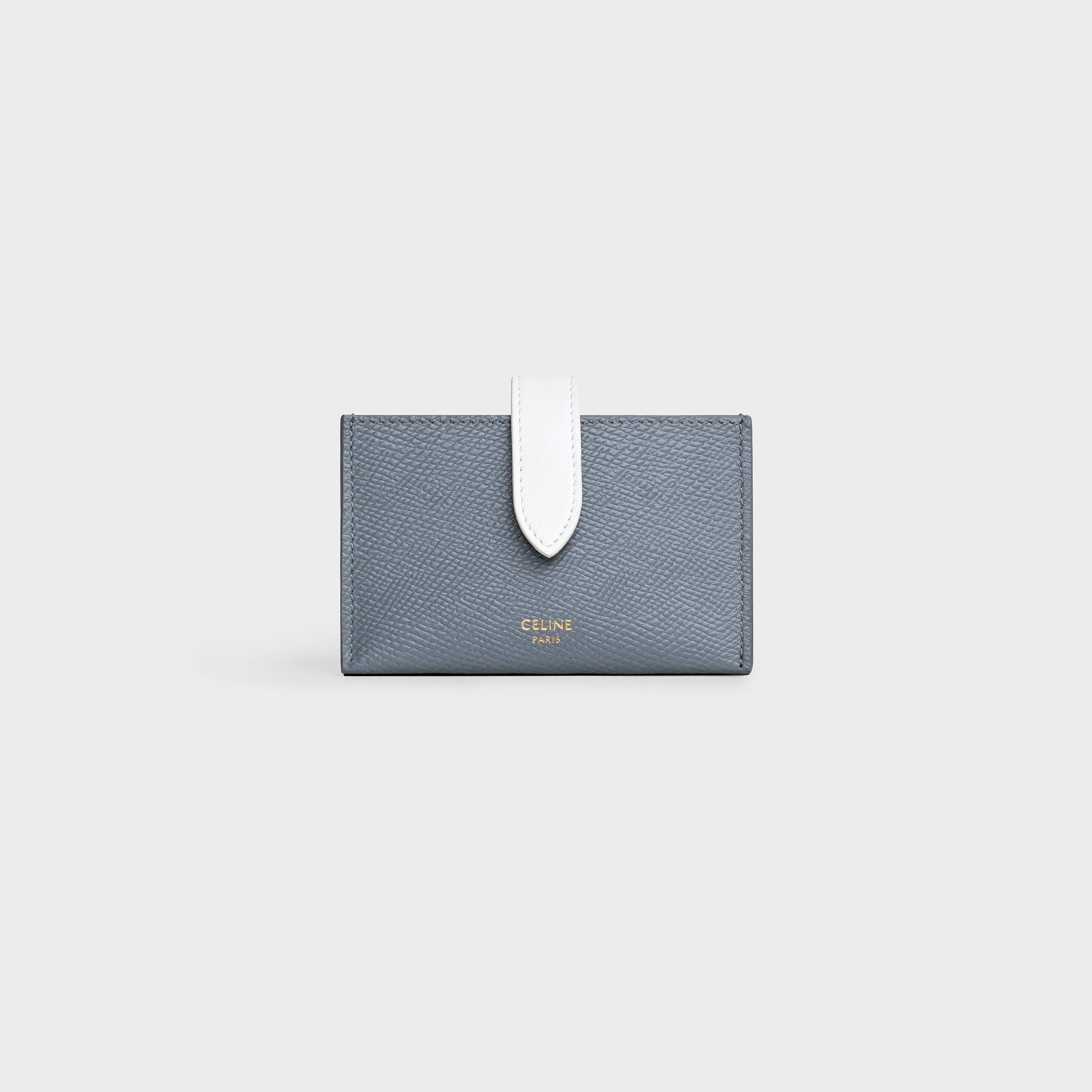 Bicolour Accordeon card holder in grained calfskin - Medium Grey / White