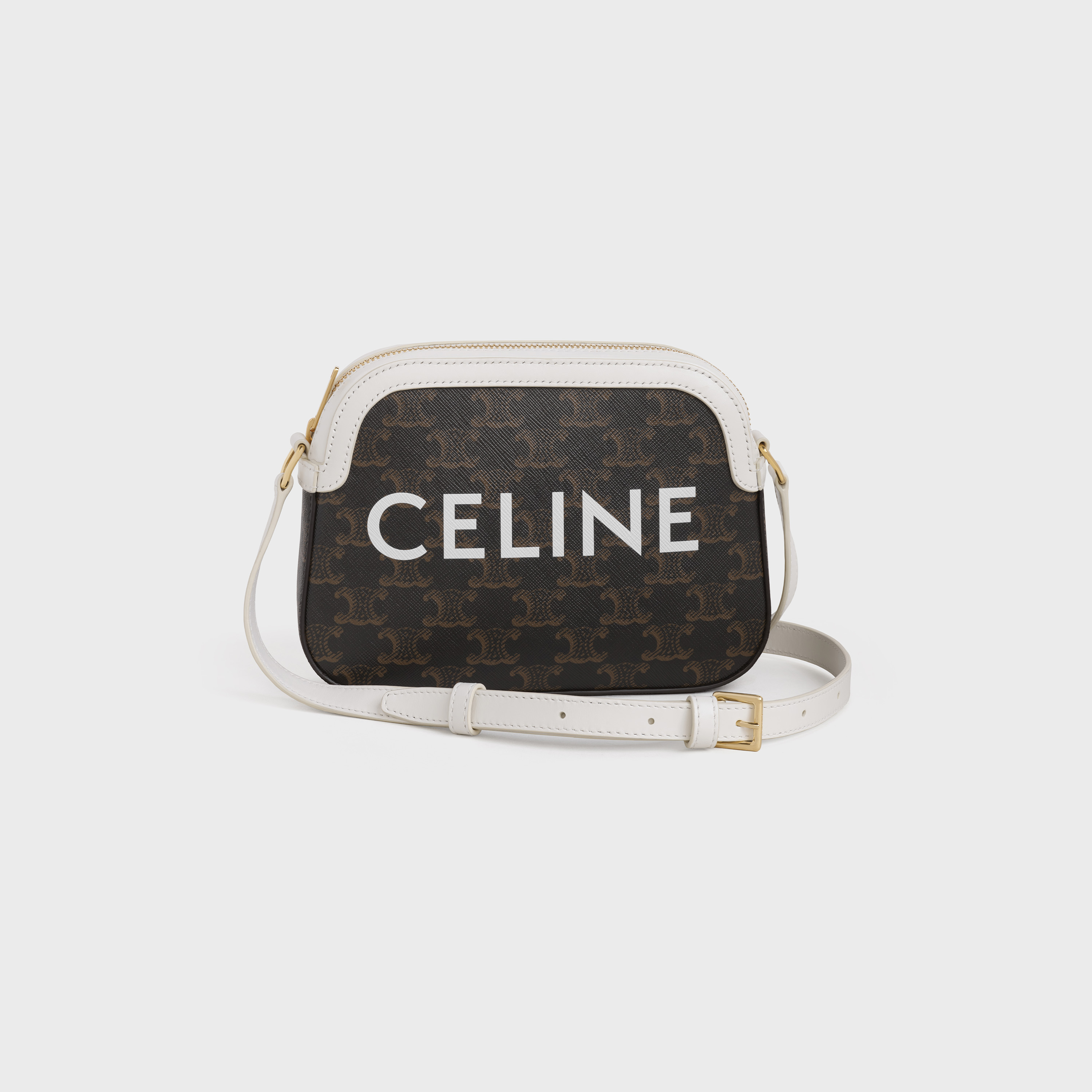 Small Camera Bag In Triomphe Canvas With Celine Print White Celine