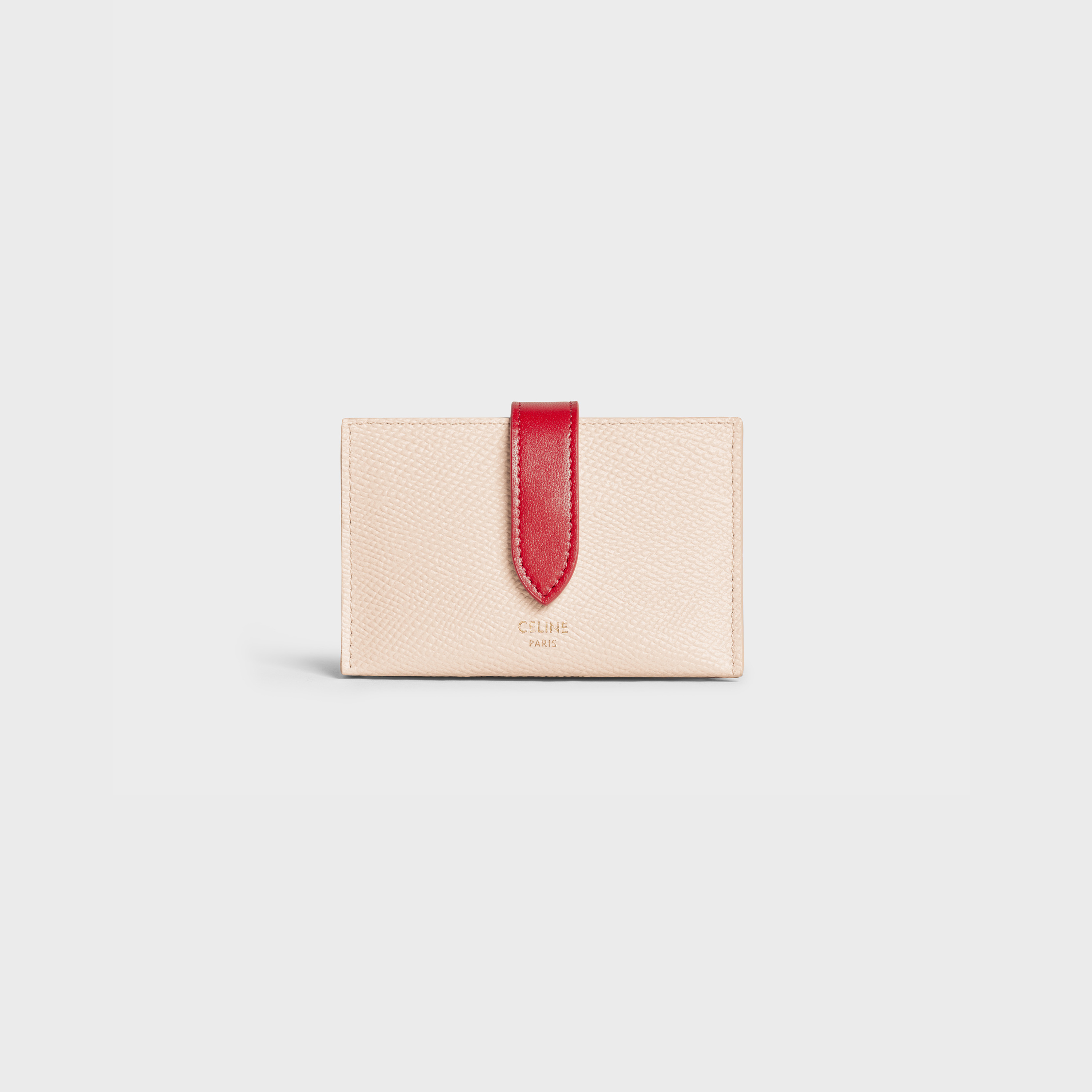 Bicolour Accordeon card holder in grained calfskin | CELINE