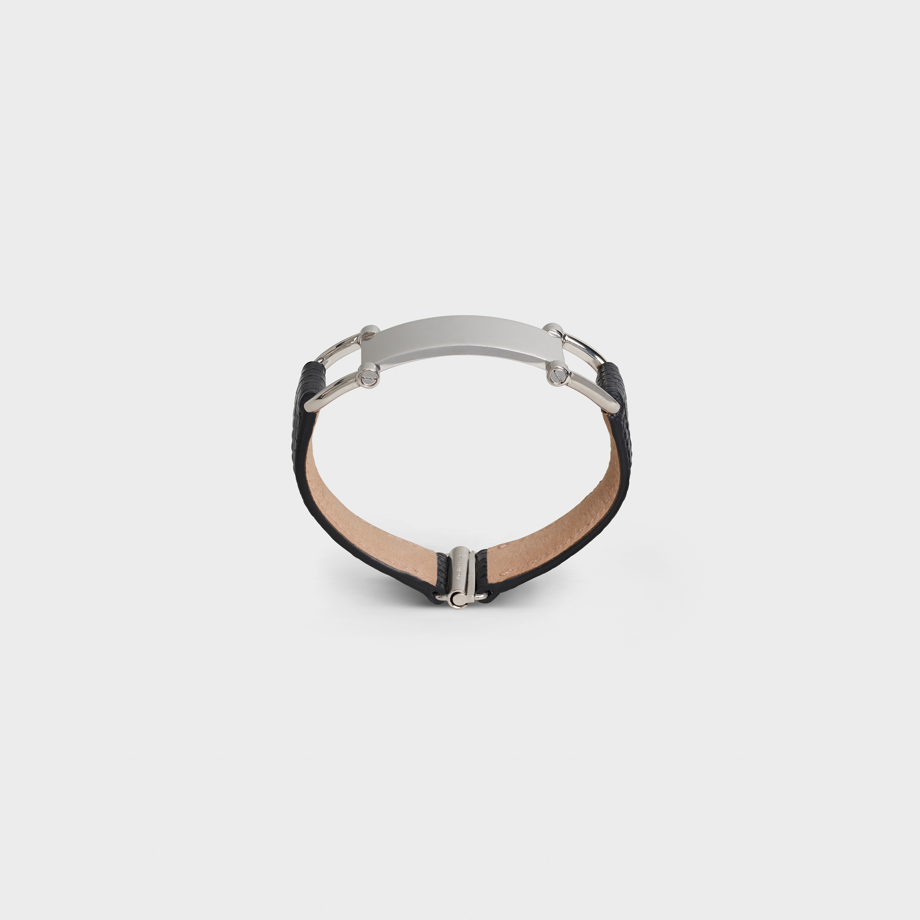 Celine Plaque Bracelet in Lizard and Brass with Rhodium finish | CELINE