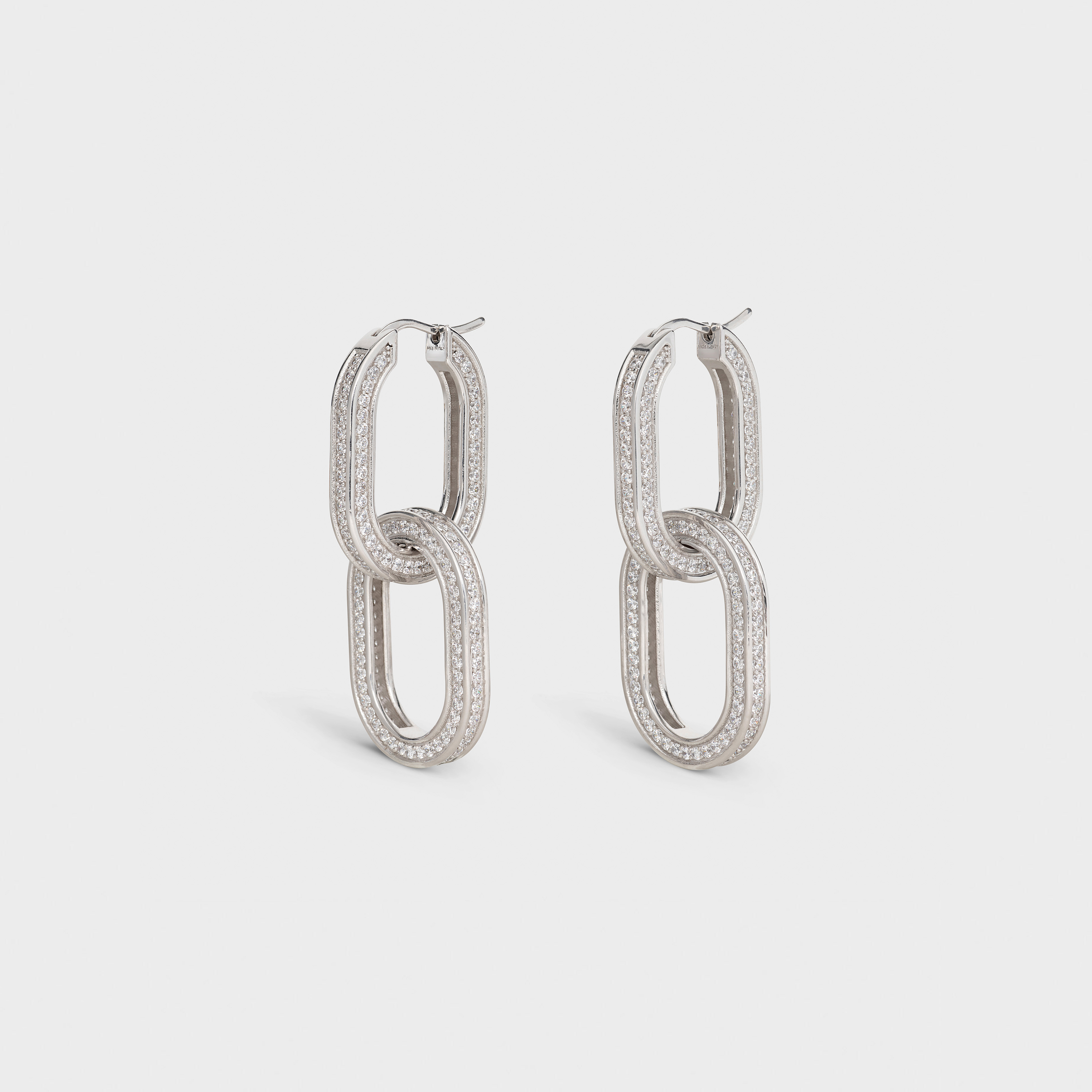 Edwige Double Hoops in Brass with Rhodium finish and Crystals | CELINE