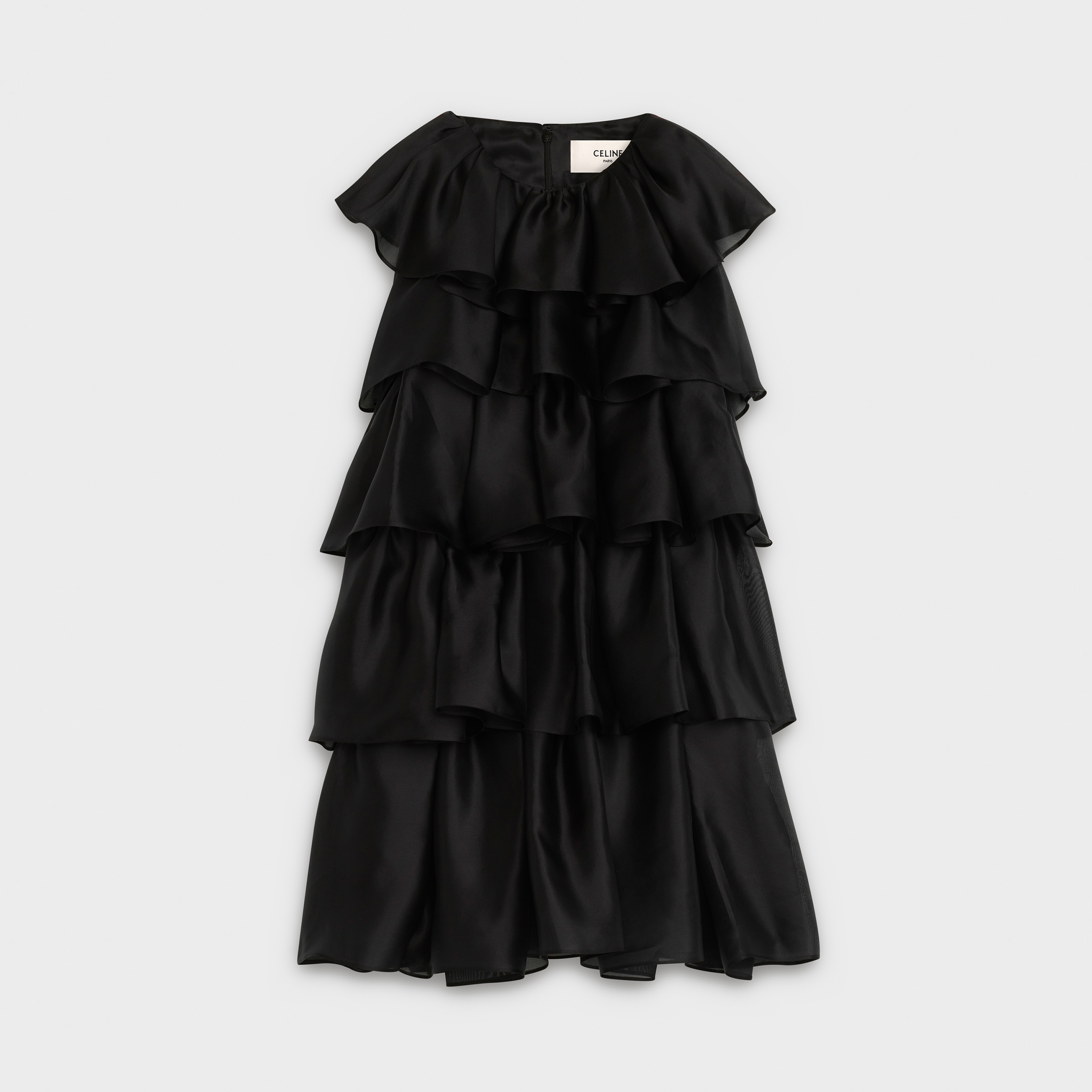 sleeveless short dress with frills in silk organza | CELINE