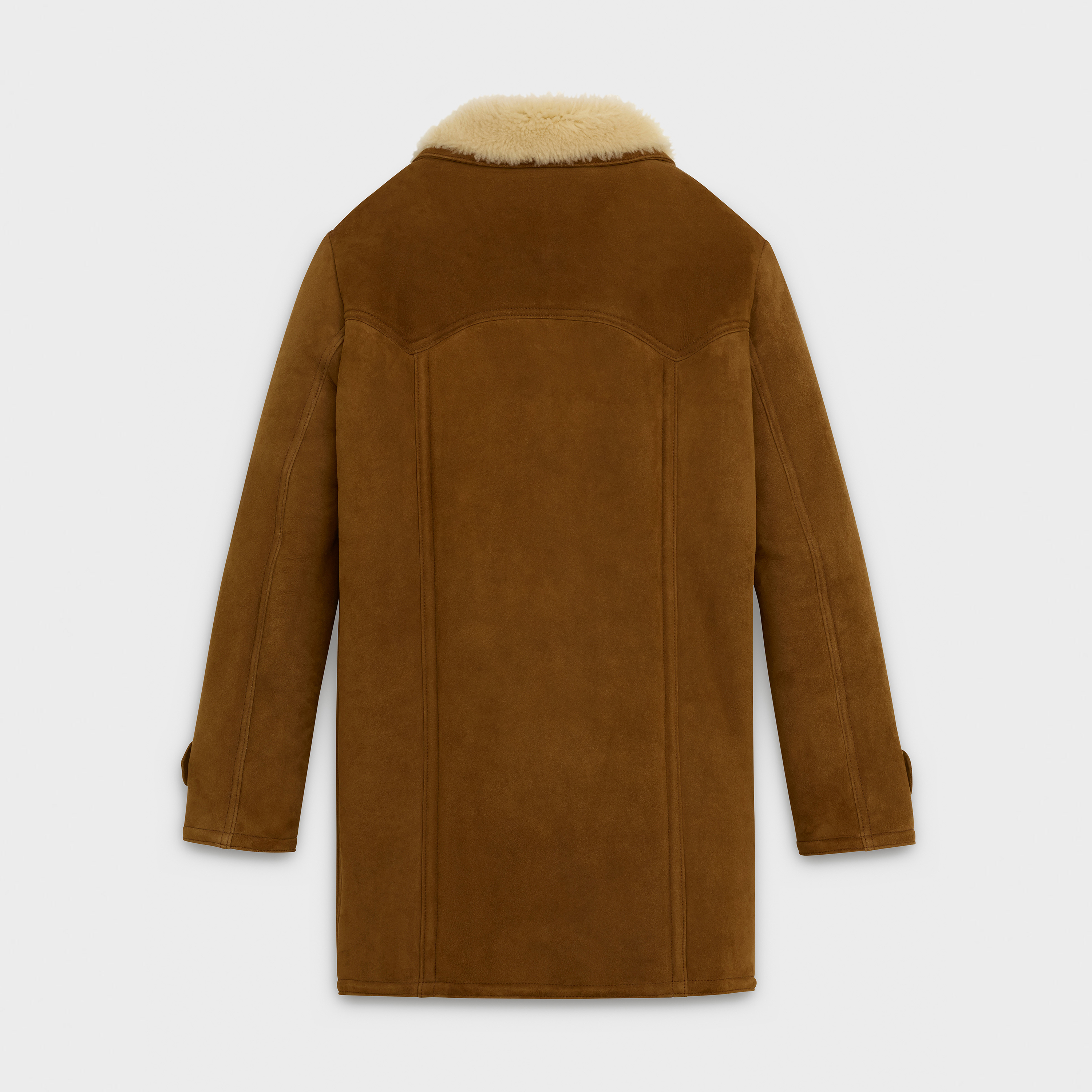 double-breasted coat in curly Merino and turned suede | CELINE