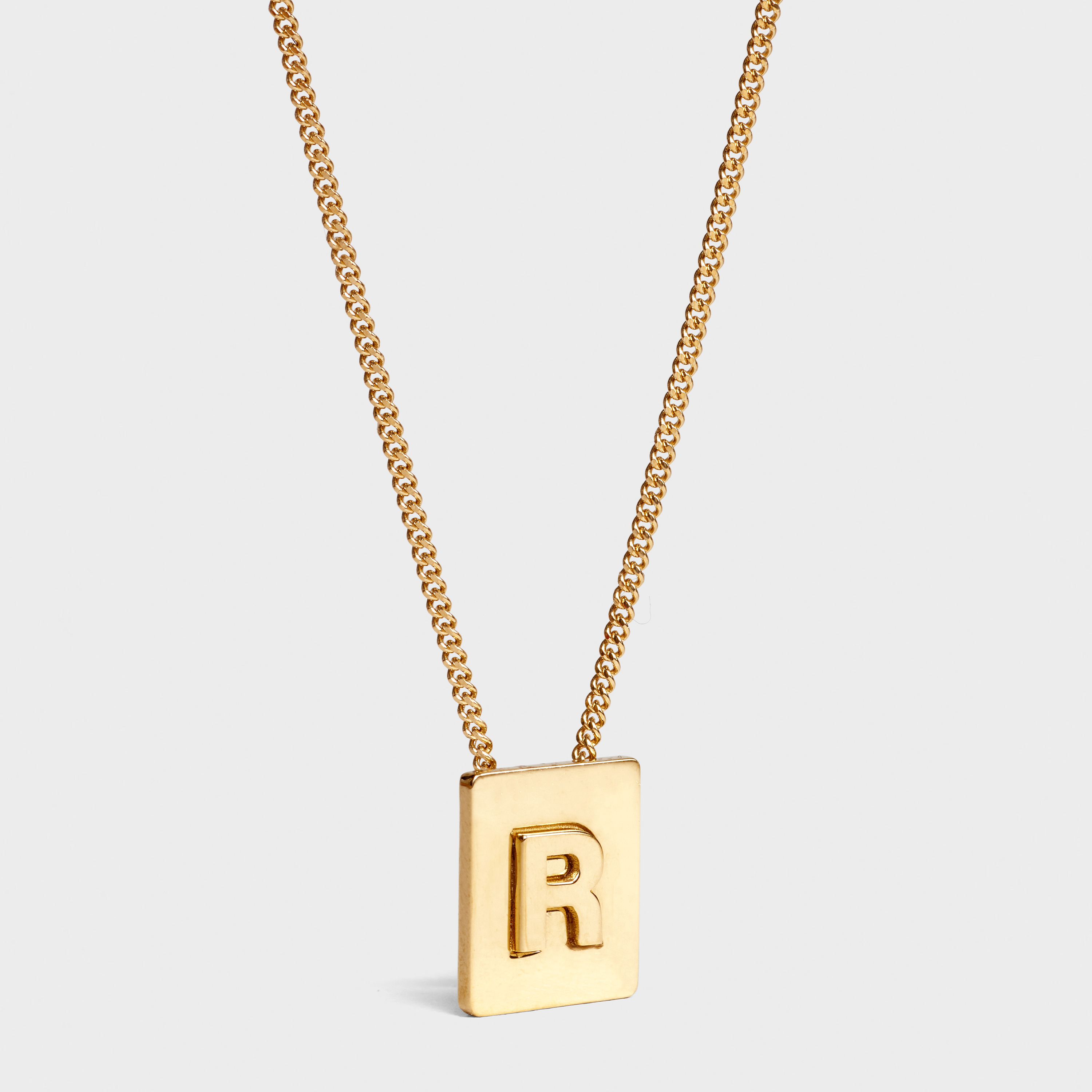 GRAND Initial Necklace Letter R Architectural Brass Letter Necklace