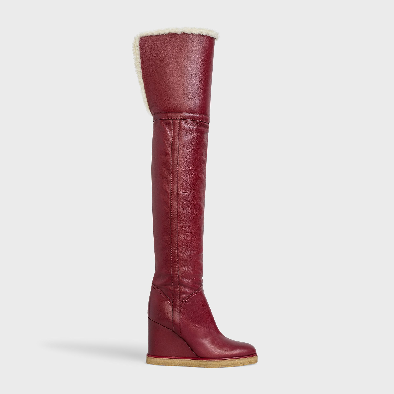 Knee Boot in Calfskin - Burgundy | CELINE