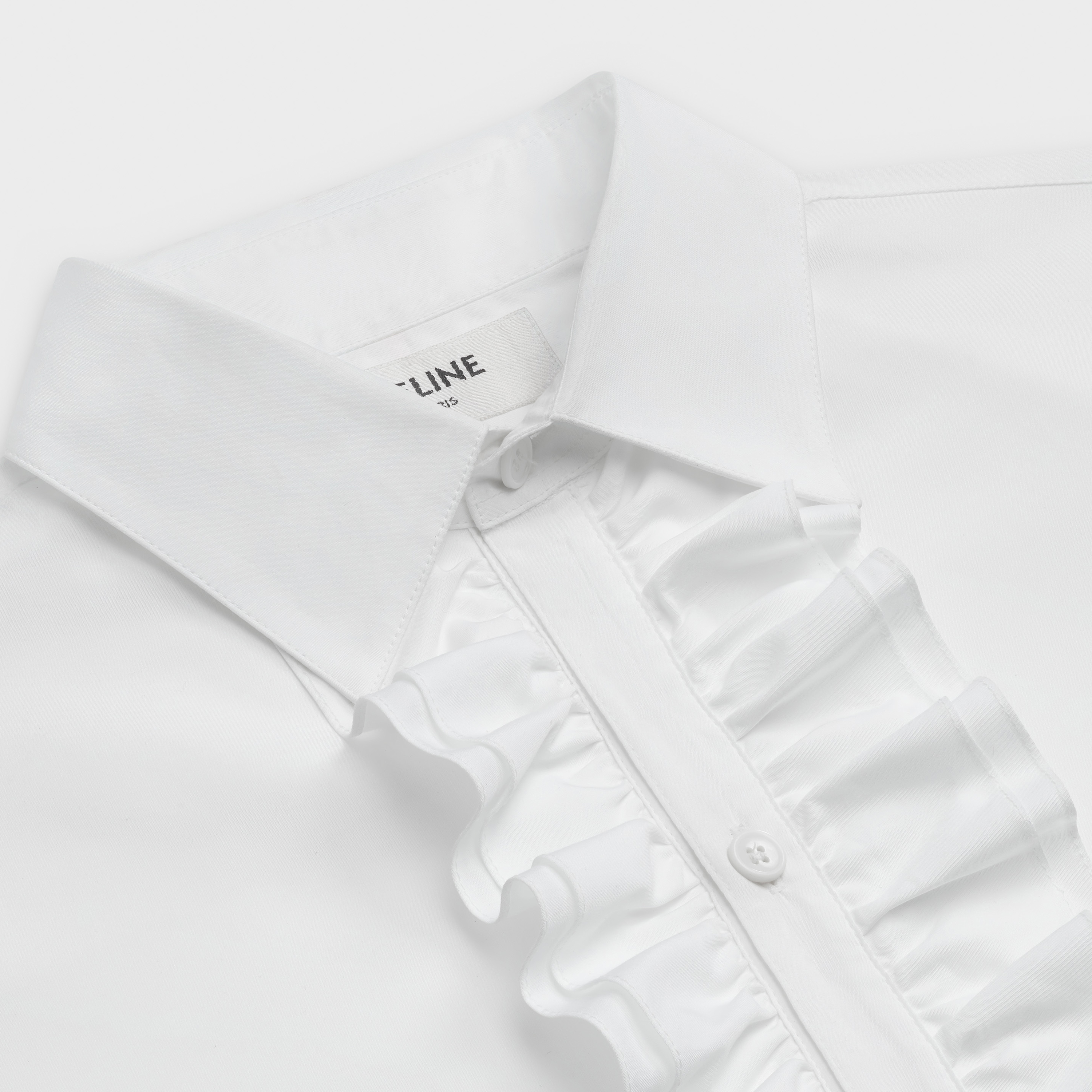 classic shirt with frill collar in cotton poplin | CELINE