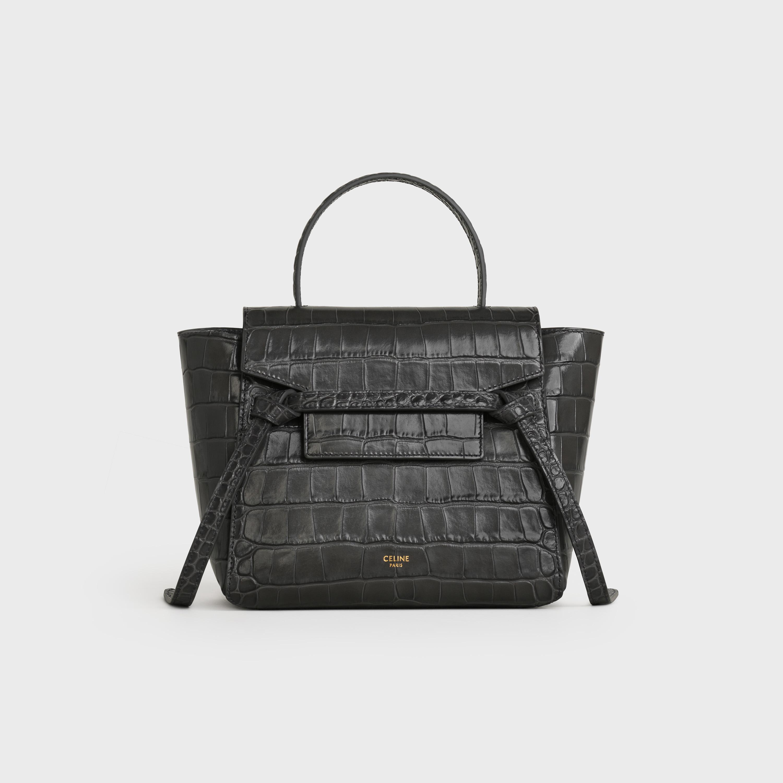 Nano Belt Bag In Crocodile Embossed Calfskin Grey 189003bte 10dc Celine
