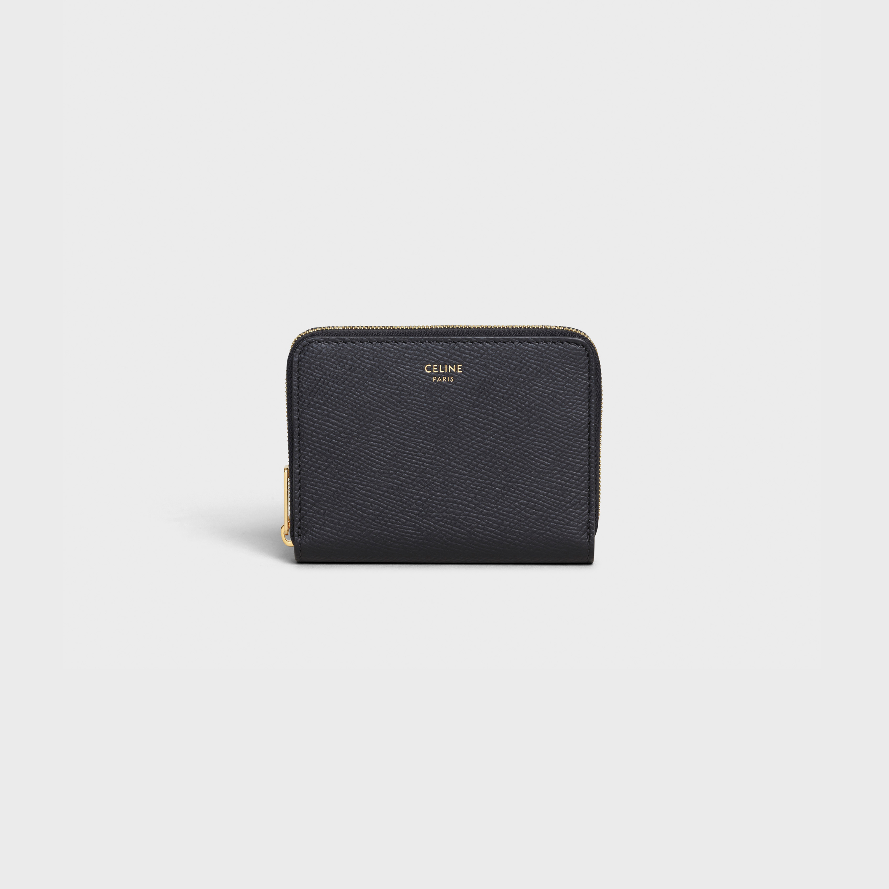 Compact zipped wallet in grained calfskin | CELINE