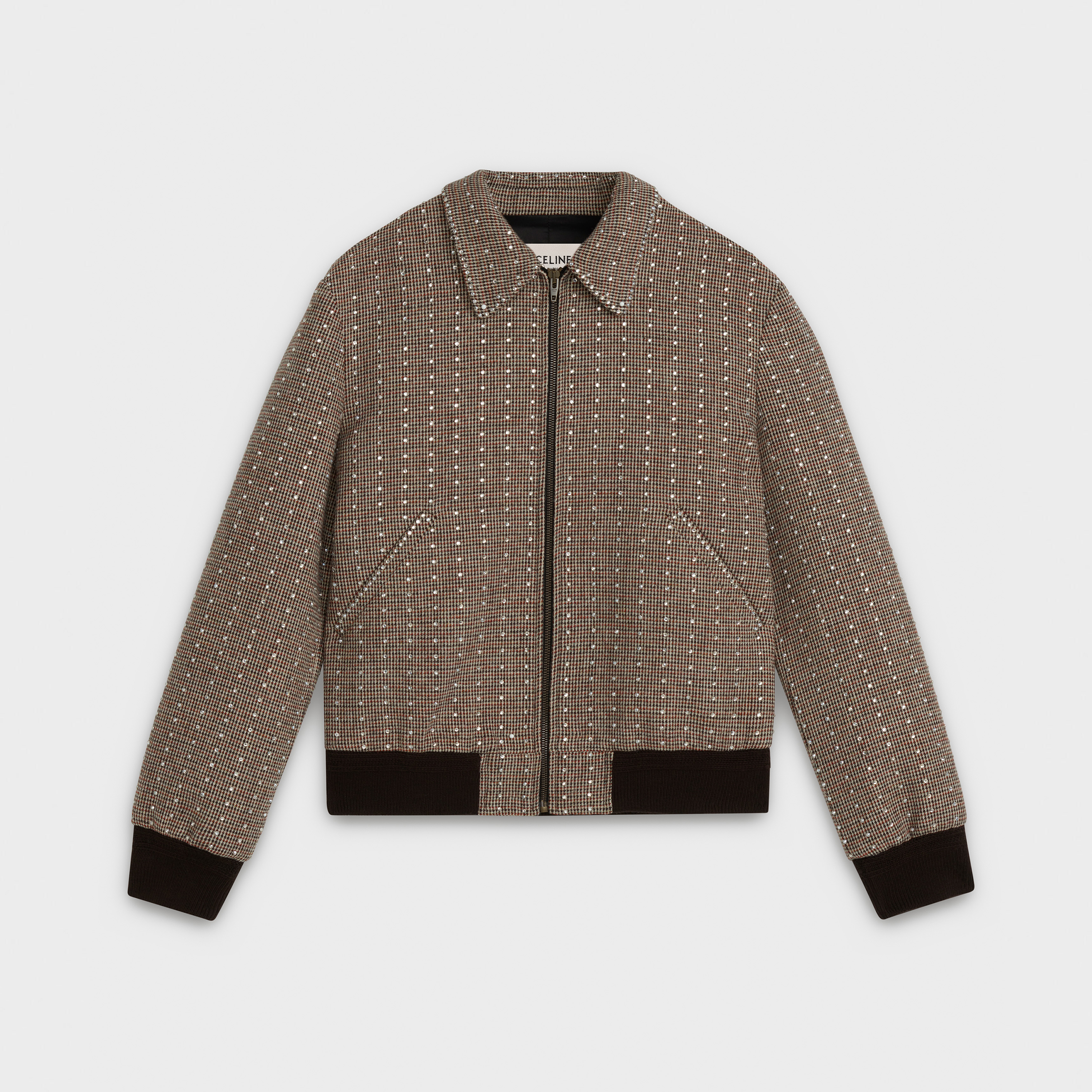 teddy jacket in microtweed with rhinestones | CELINE