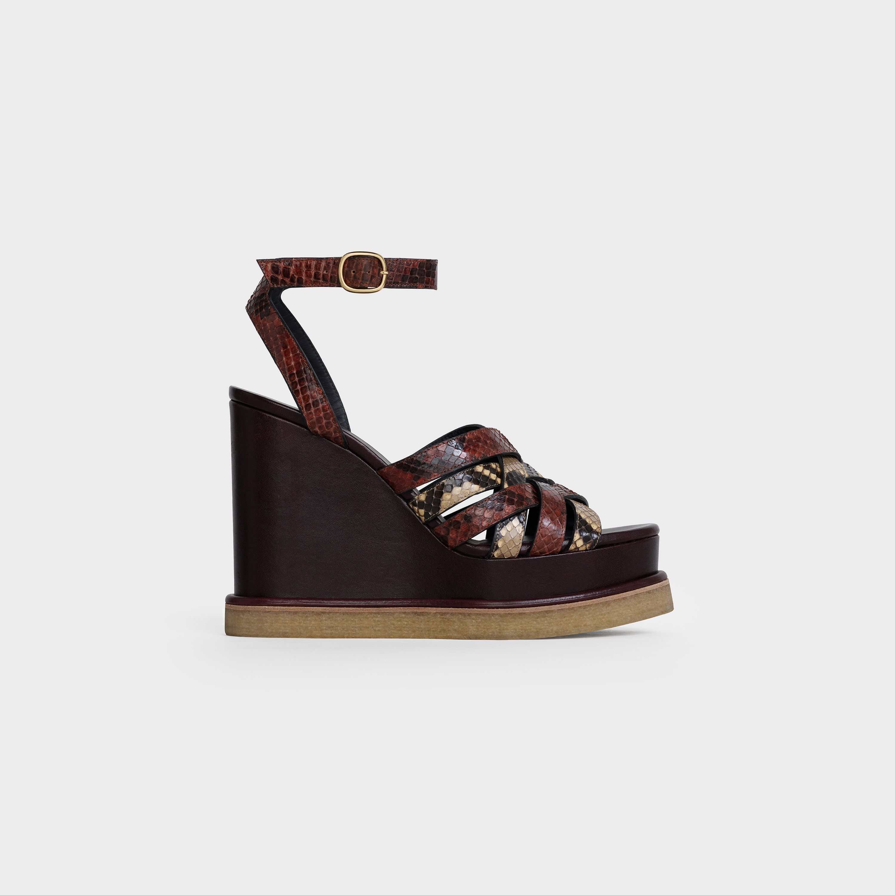 Manon Wedge Sandal in Python and calfskin