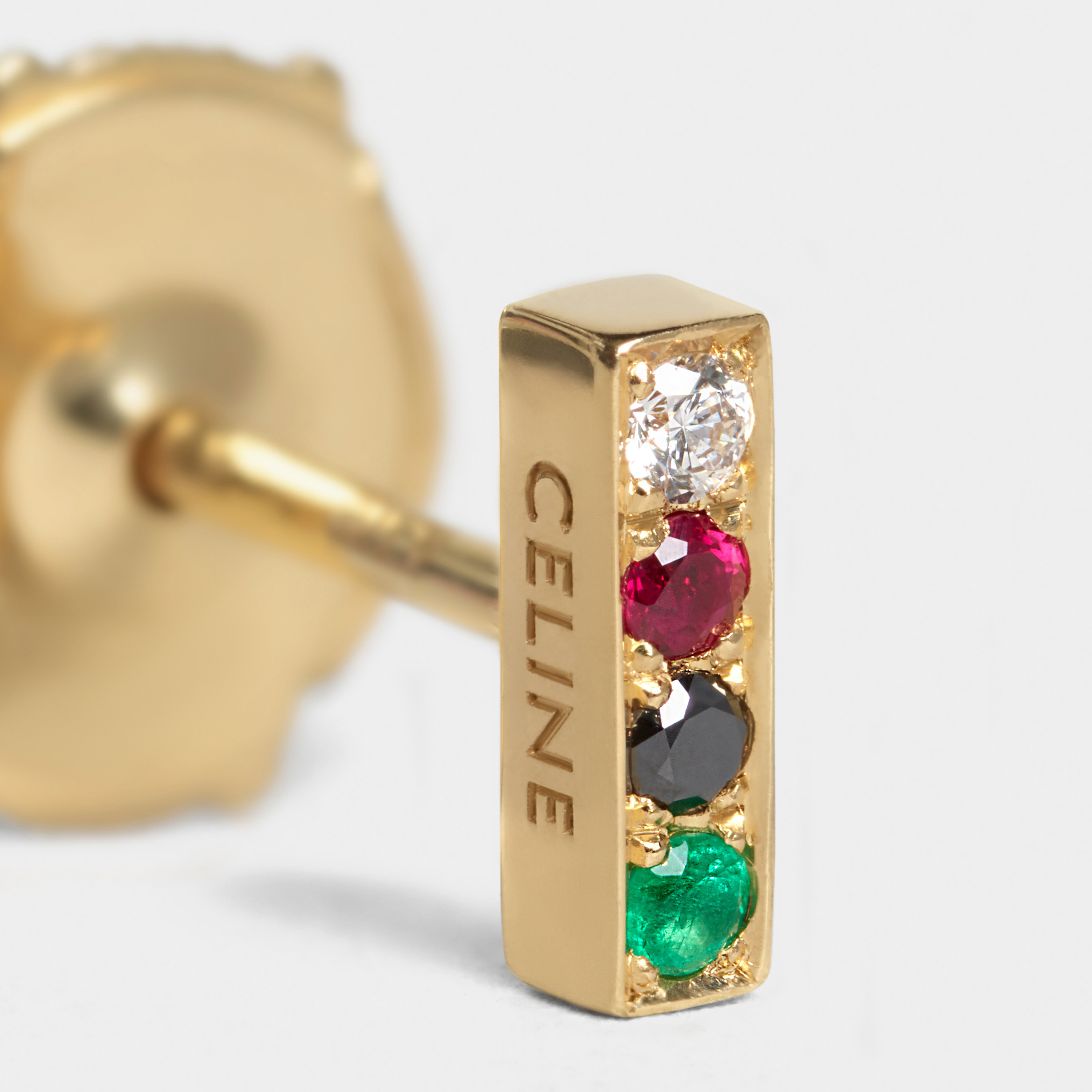 Celine Sentimental Small Line Stud in Yellow Gold, Diamond, Ruby, Emerald and Black Diamond | CELINE