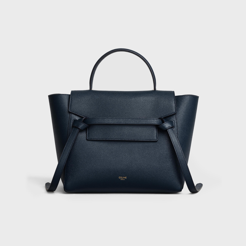 Micro Belt Bag In Grained Calfskin Navy Blue 189153zva 07oc Celine