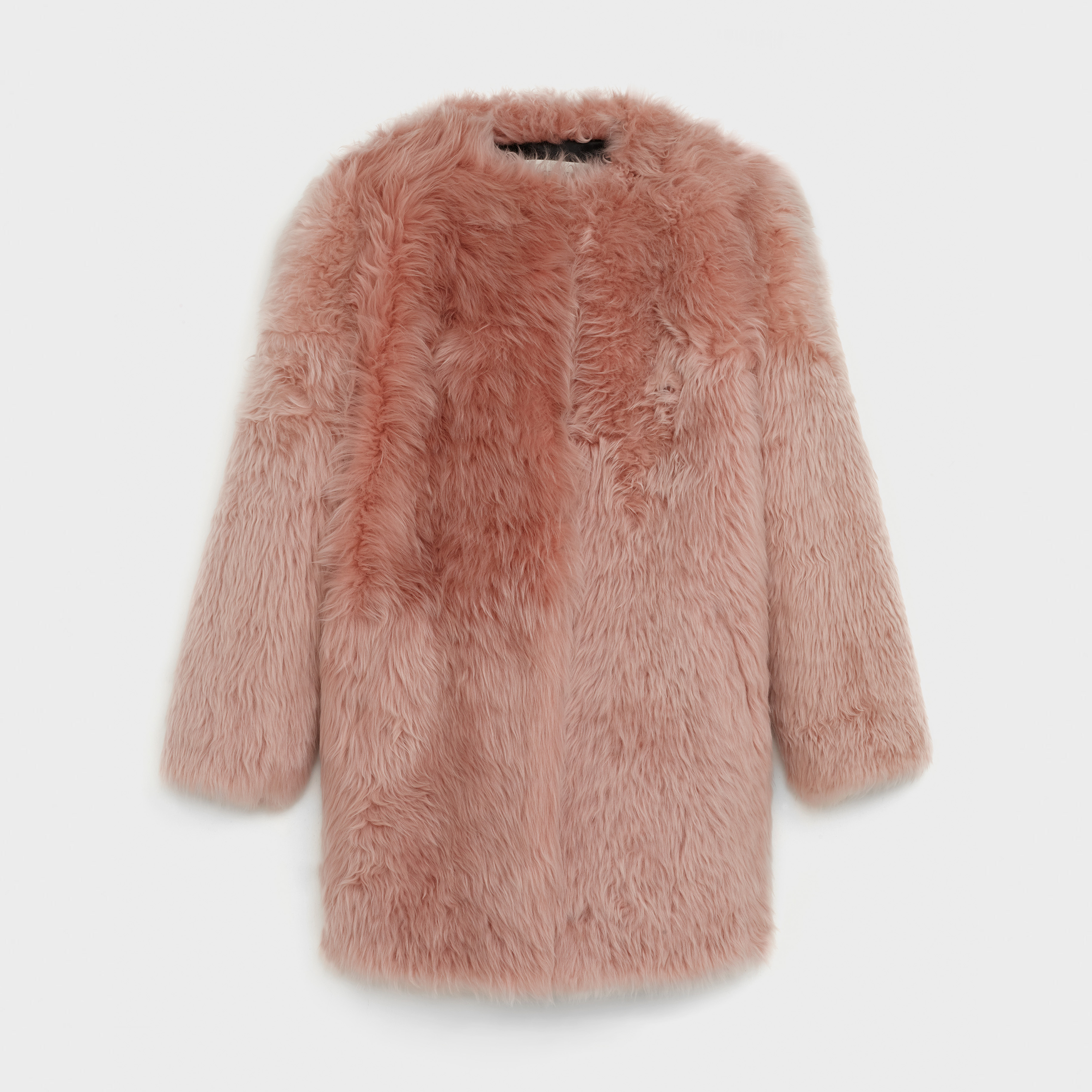 three-quarter crew neck coat in hairy shearling | CELINE