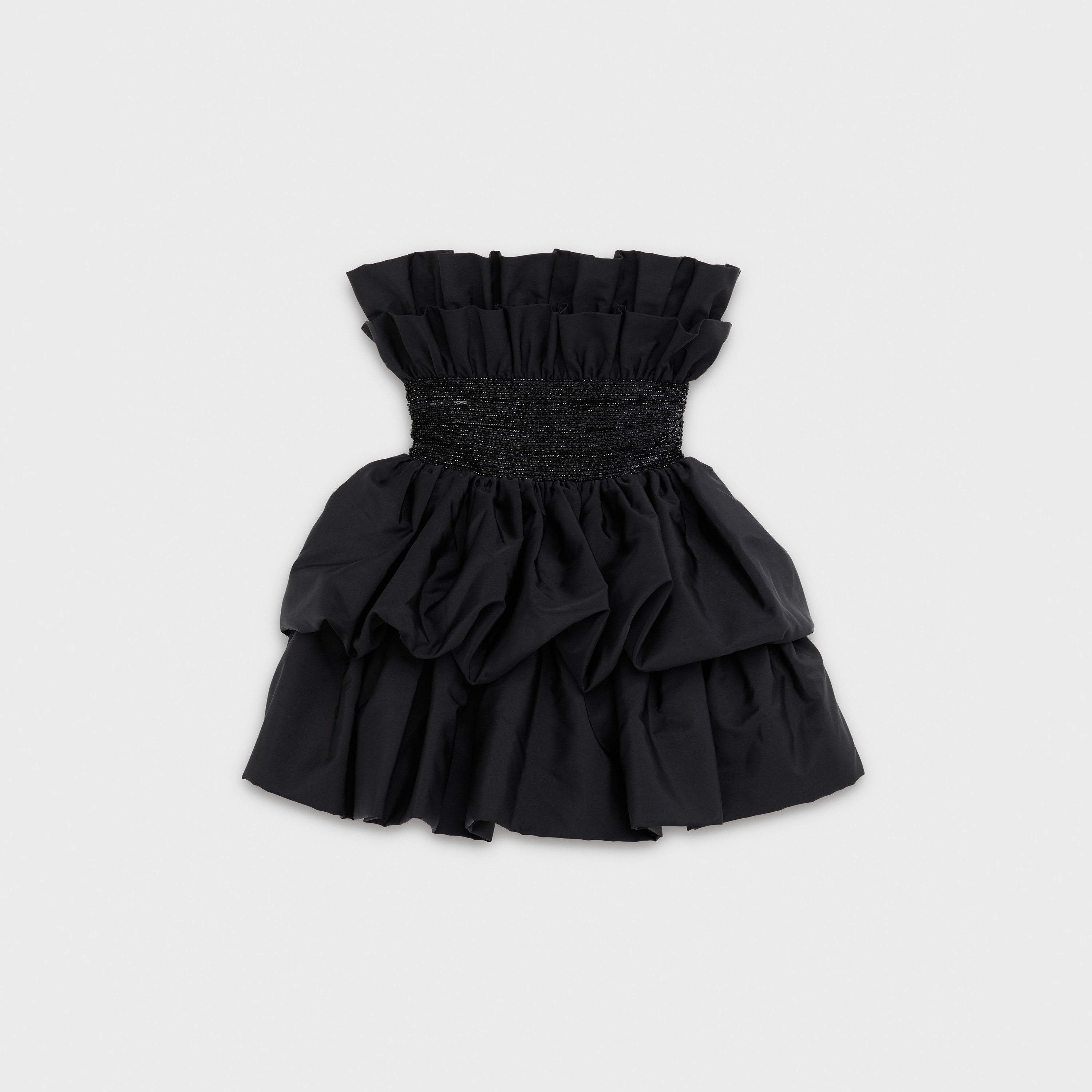 Ruffled bustier dress in silk with embroidered belt | CELINE