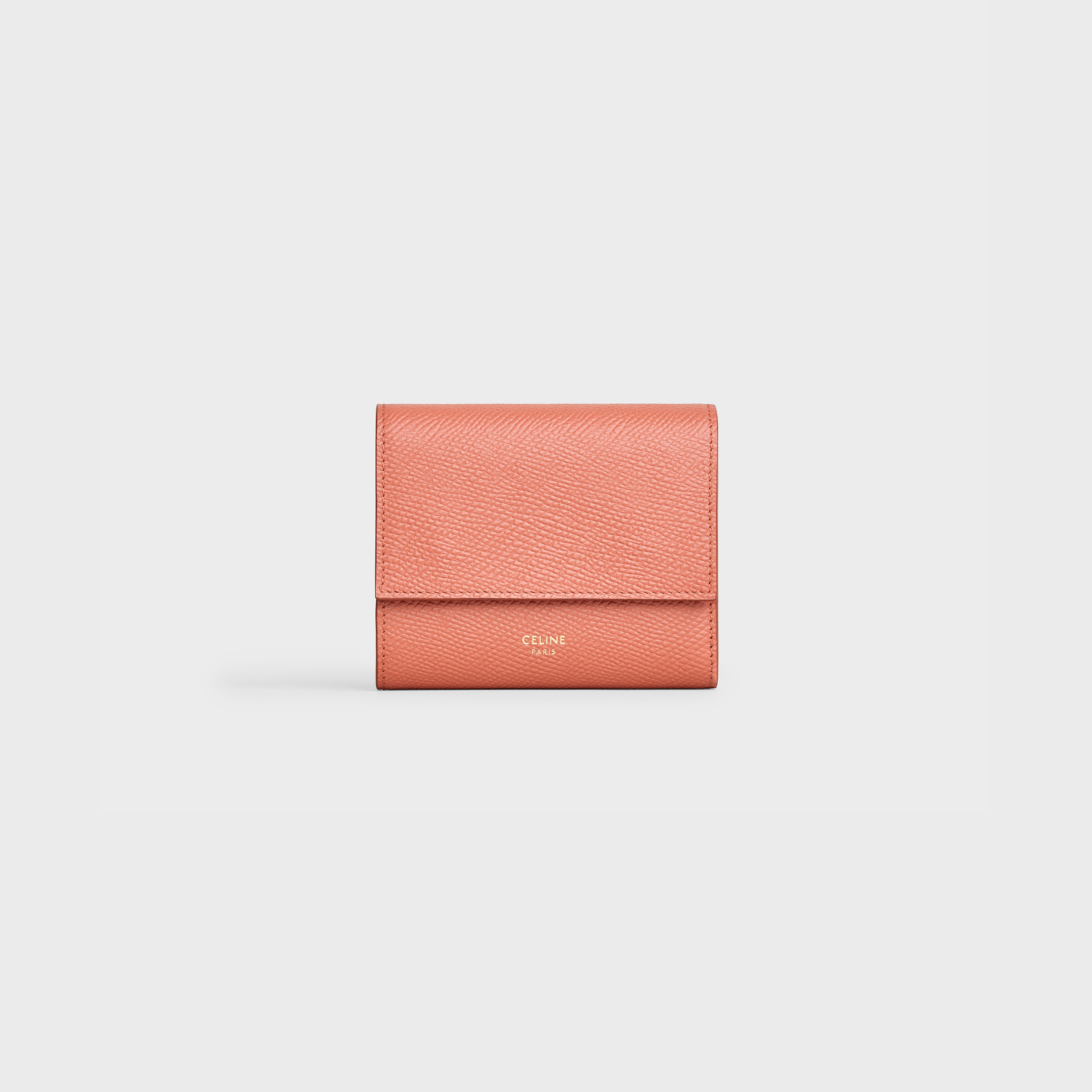 Small trifold wallet in Grained calfskin - Terracotta