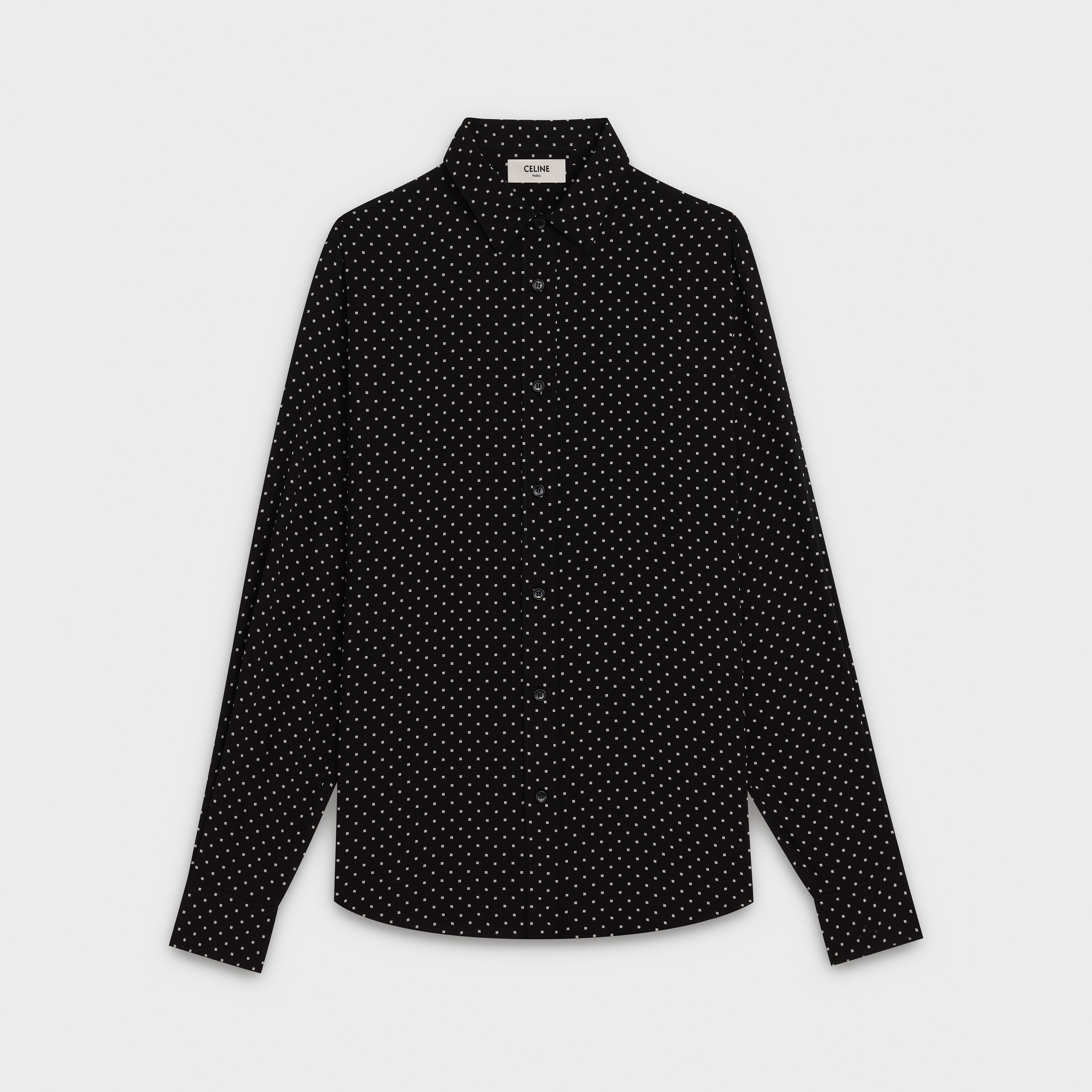 classic shirt in microcheckered printed viscose with modern collar | CELINE