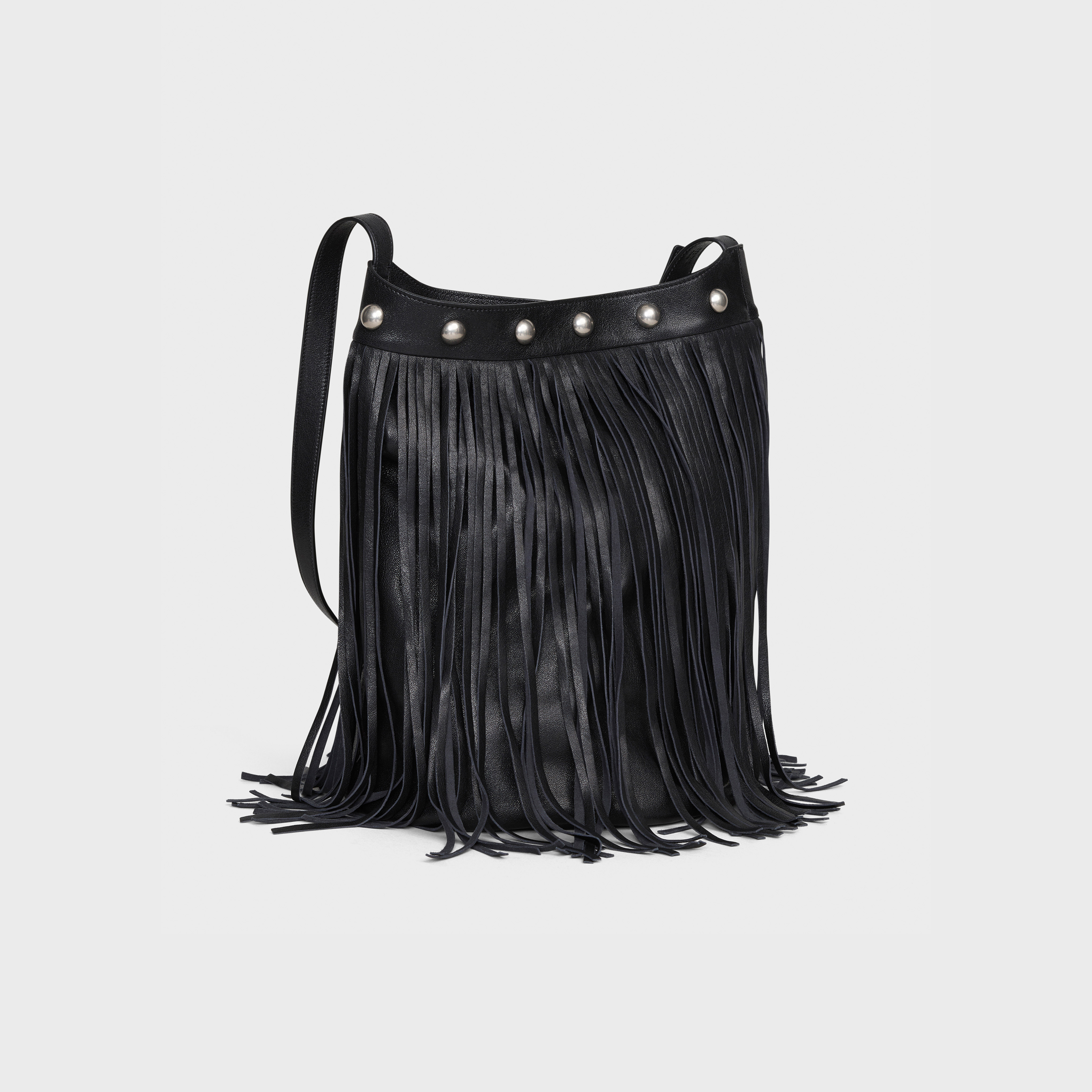 Medium Soft Bucket with Fringes and Studs in lambskin | CELINE