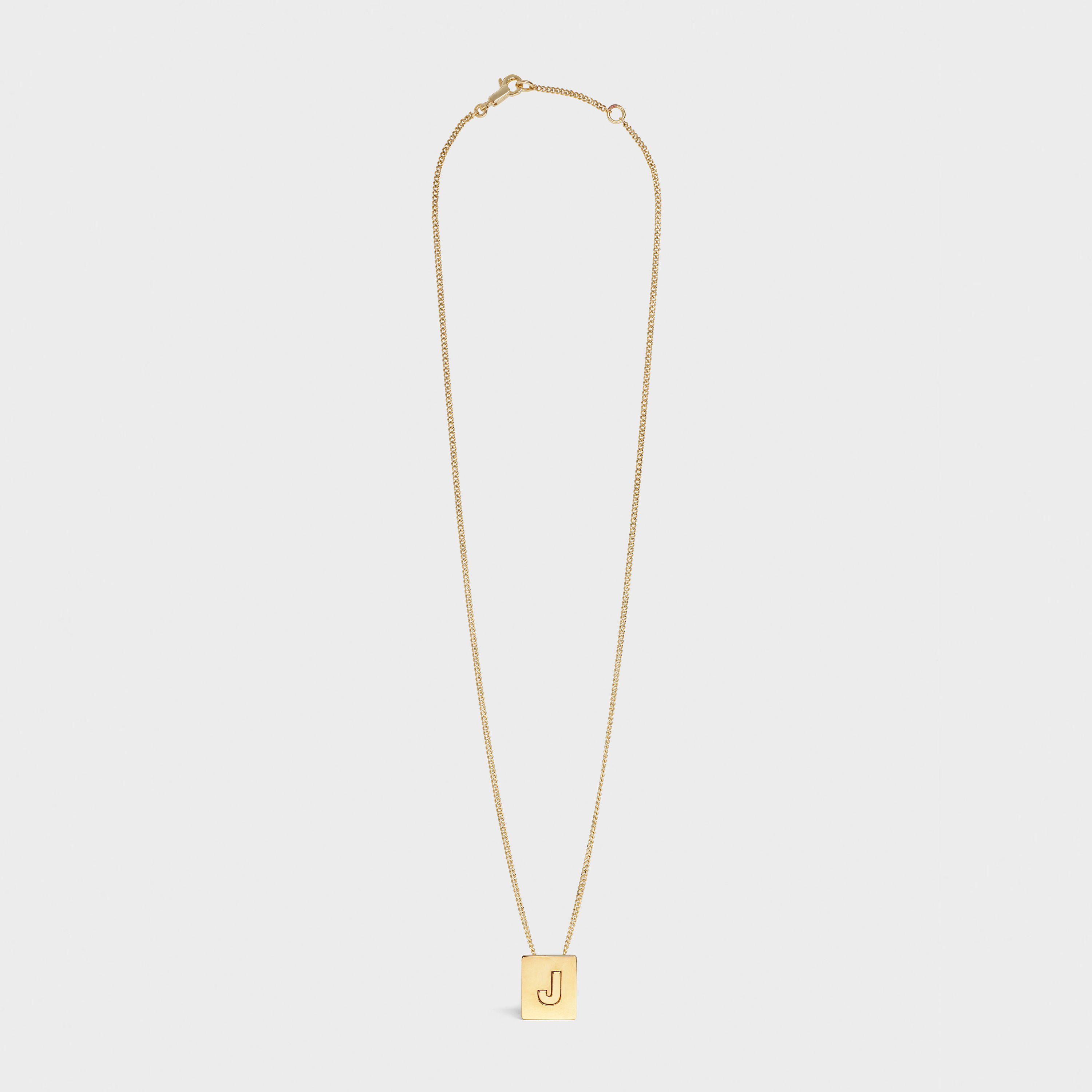 Alphabet J Necklace in Brass with Gold finish | CELINE