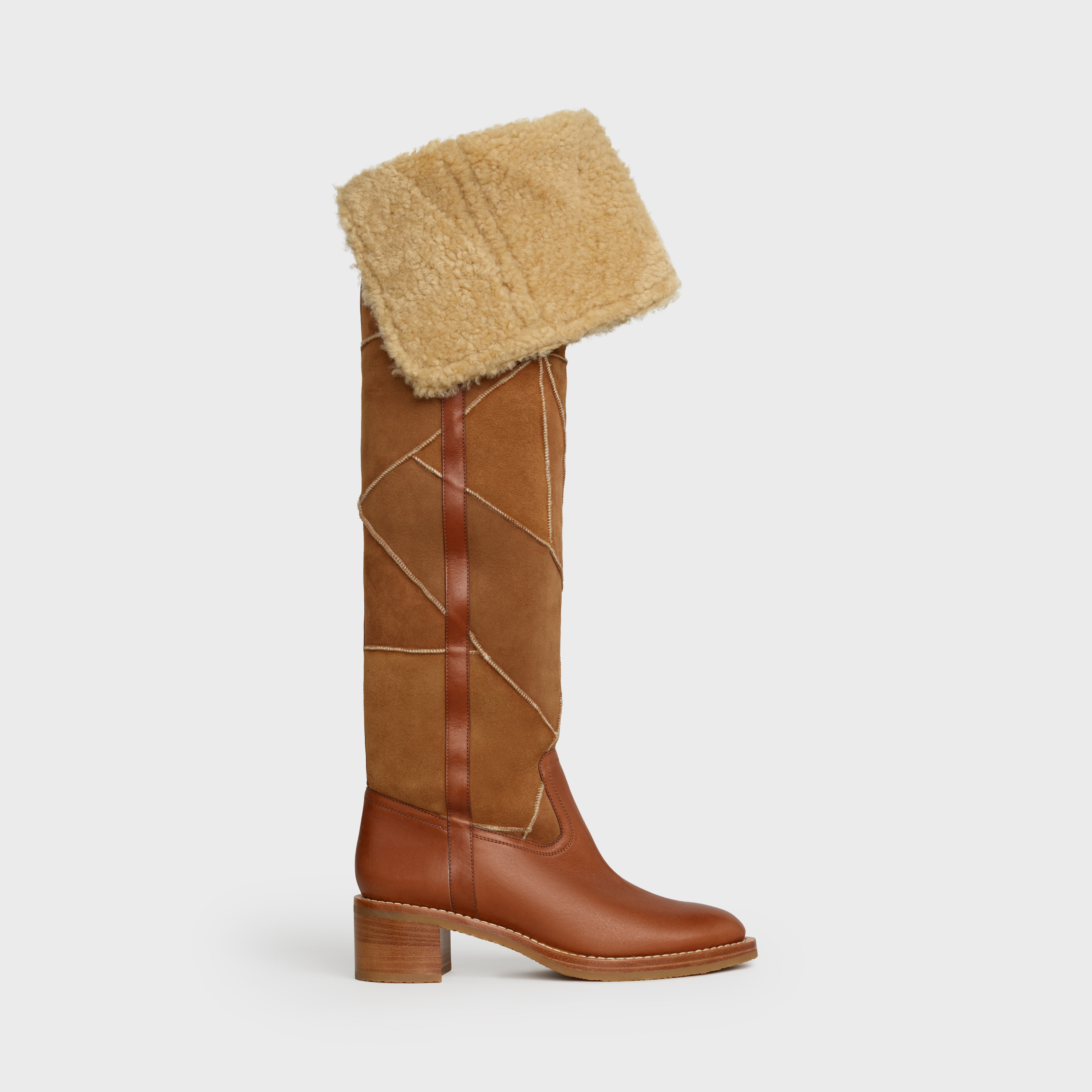 Celine Folco Over The Knee Boot in Lamb shearling Patchwork and Calfskin