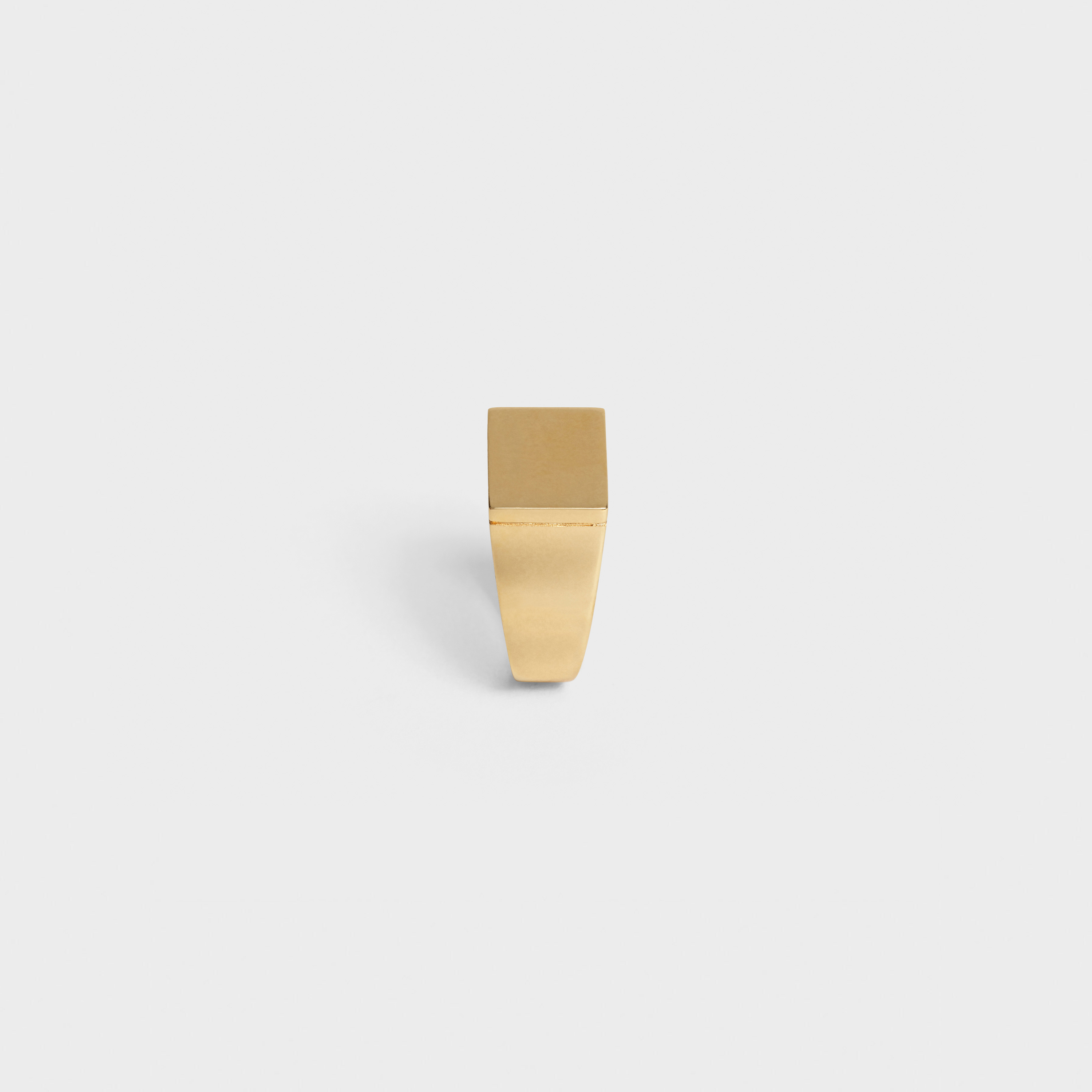 Simple Forms Square Signet Ring in Brass with Gold finish | CELINE