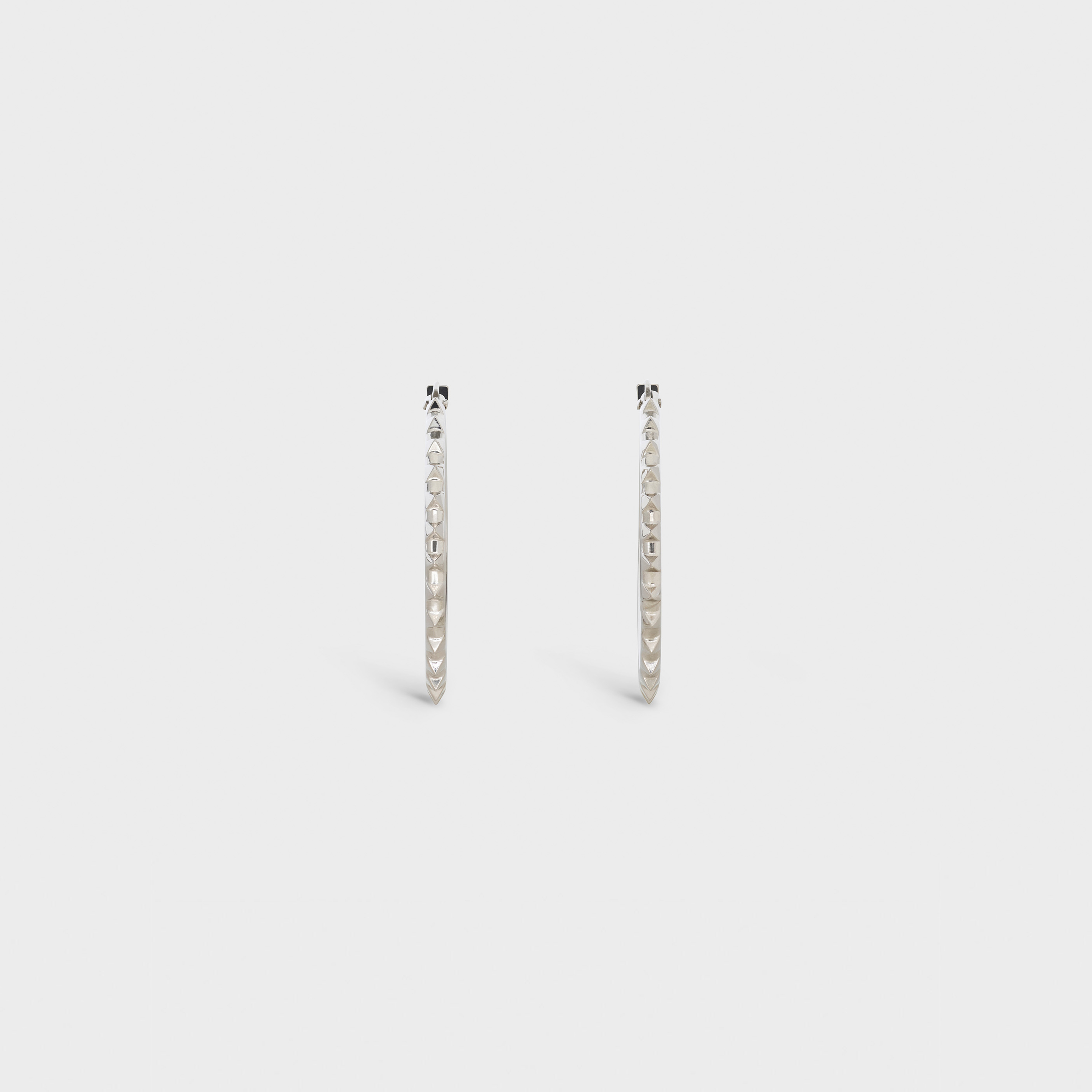 Pyramid Studs Hoops in Brass with Rhodium finish | CELINE