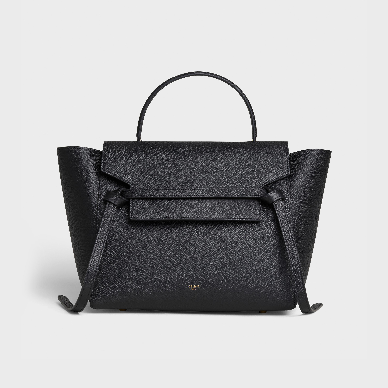 Mini Belt Bag In Grained Calfskin Black 189103zva 38no Celine